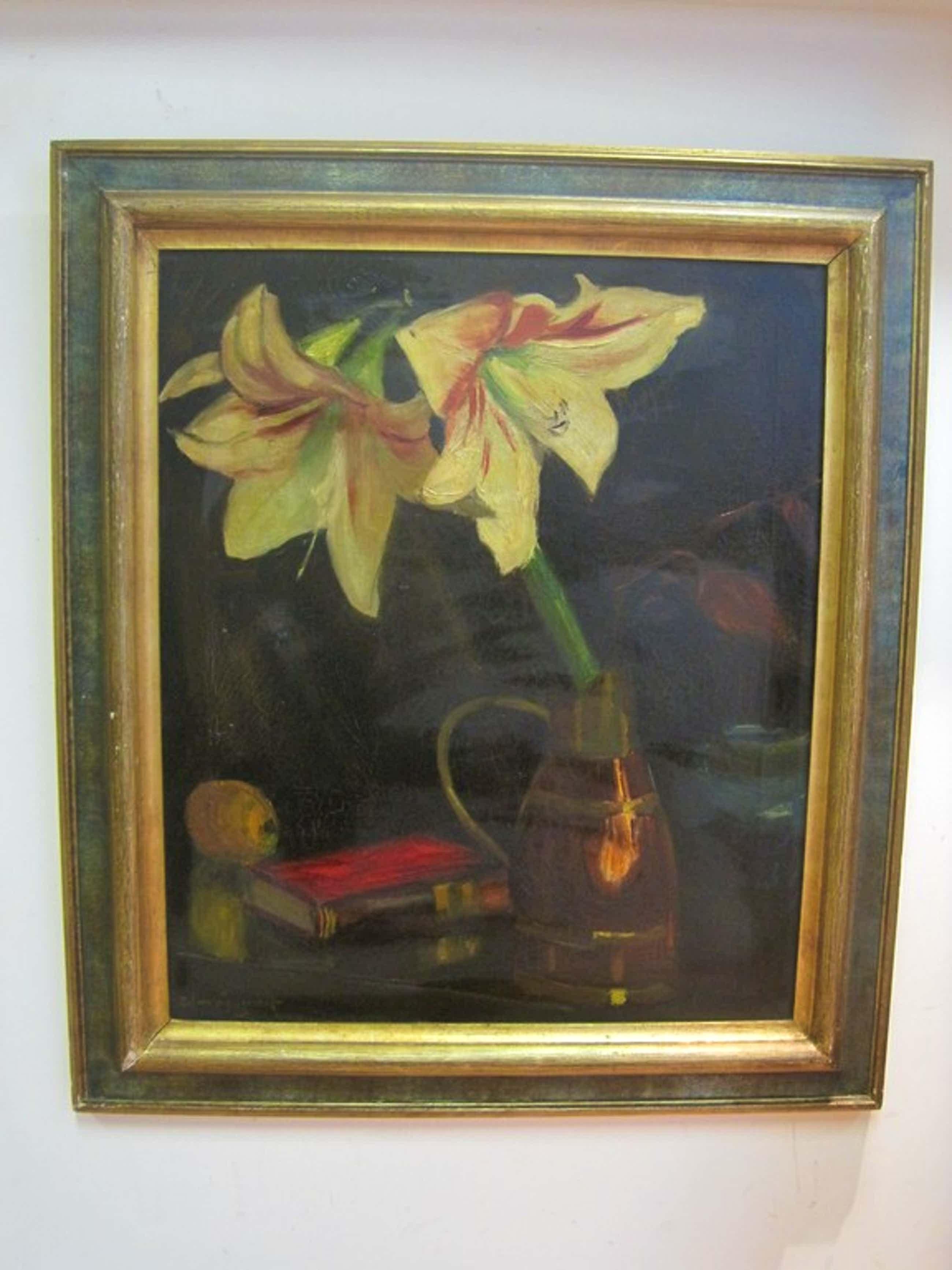 """Piet v Wijngaerdt - Bergense School - """"Amaryllis"""" olieverf ca. 1940 kopen? Bied vanaf 260!"""