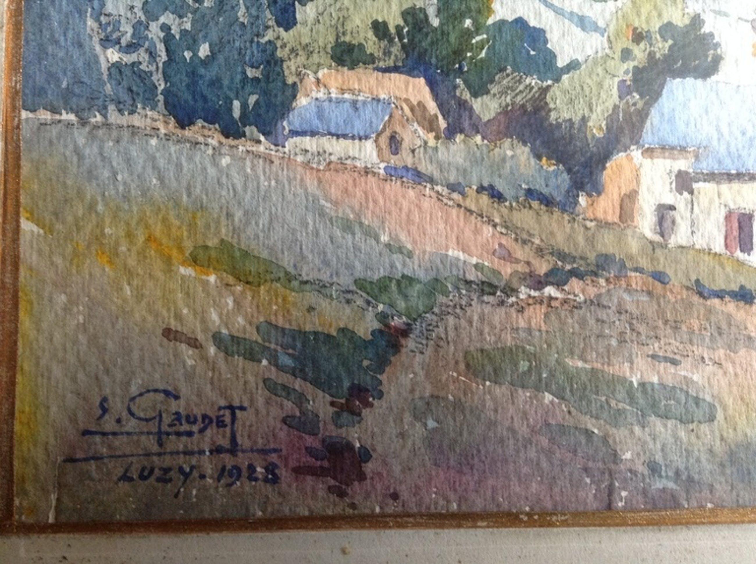 E Gaudet, Landschap Nievre bij Luzy 1923 aquarel op papier gesigneerd en gelijst kopen? Bied vanaf 75!