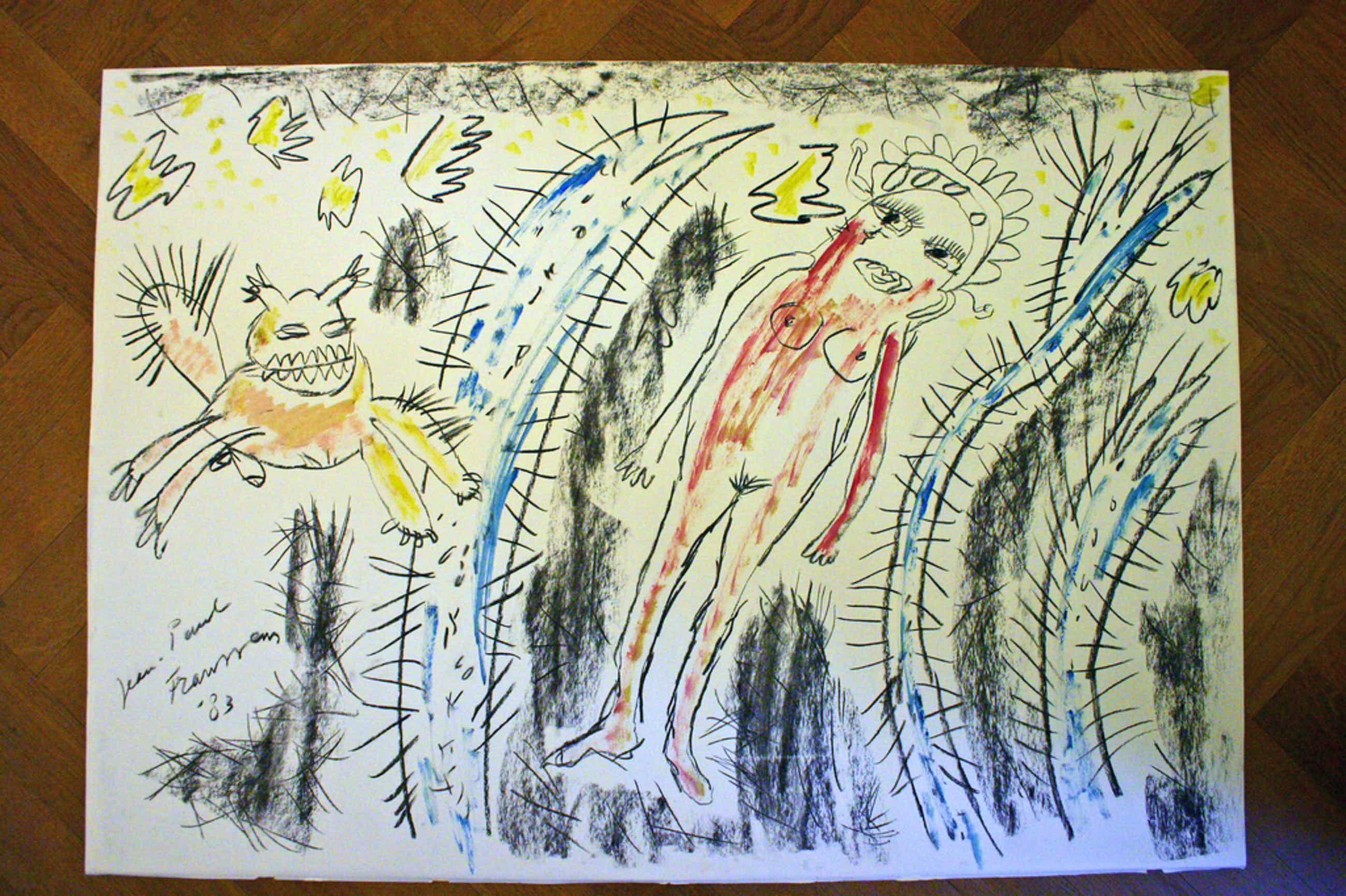 Jean Paul Franssens, Olieverf op papier, Titel: Allergevaarlijkste oerwoud kopen? Bied vanaf 75!