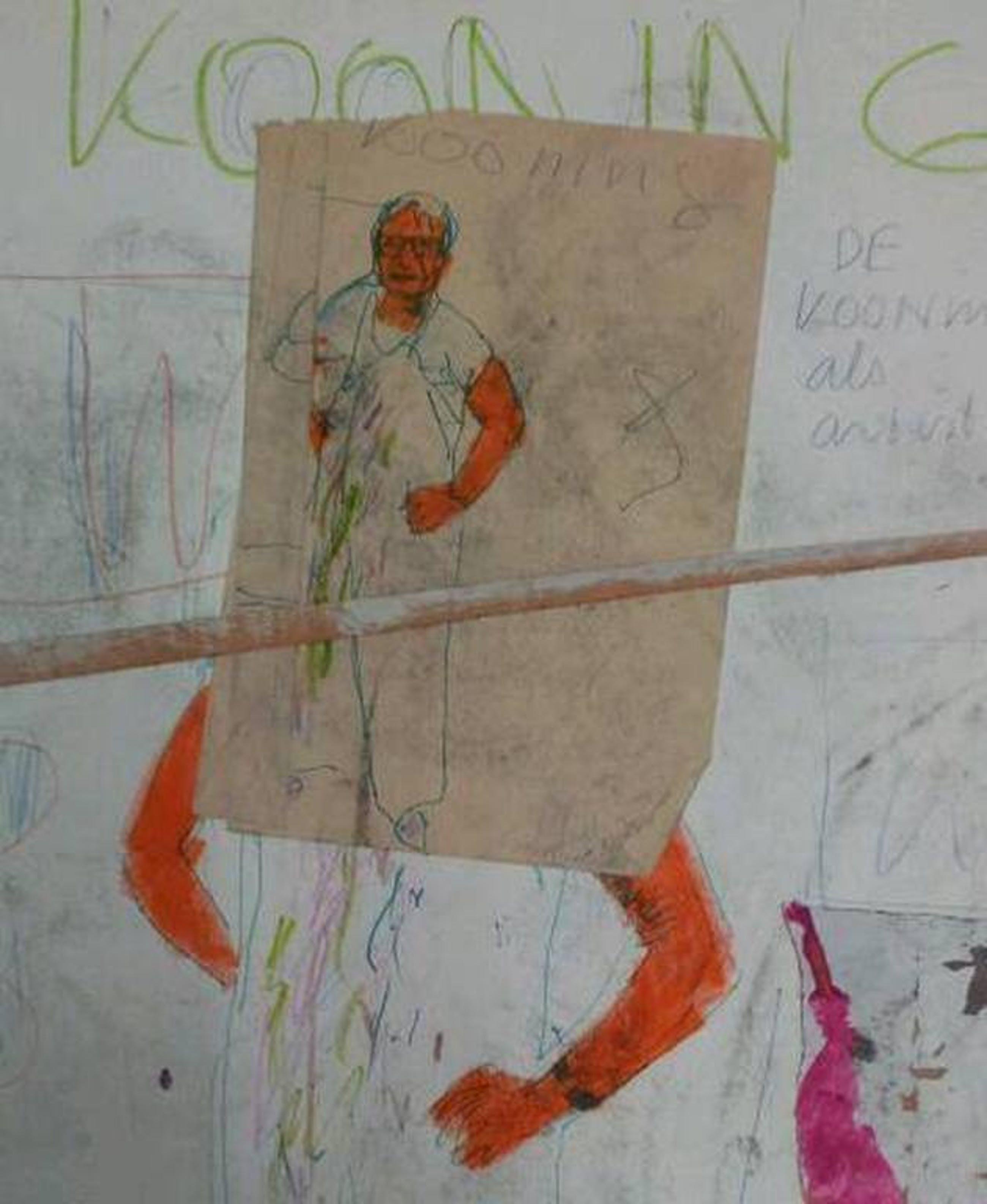 PETER KLASHORST - Gemengde Techniek '' (Willem) de Kooning als Artist - ZELDZAAM Vroeg werk - gedateerd '84 kopen? Bied vanaf 99!