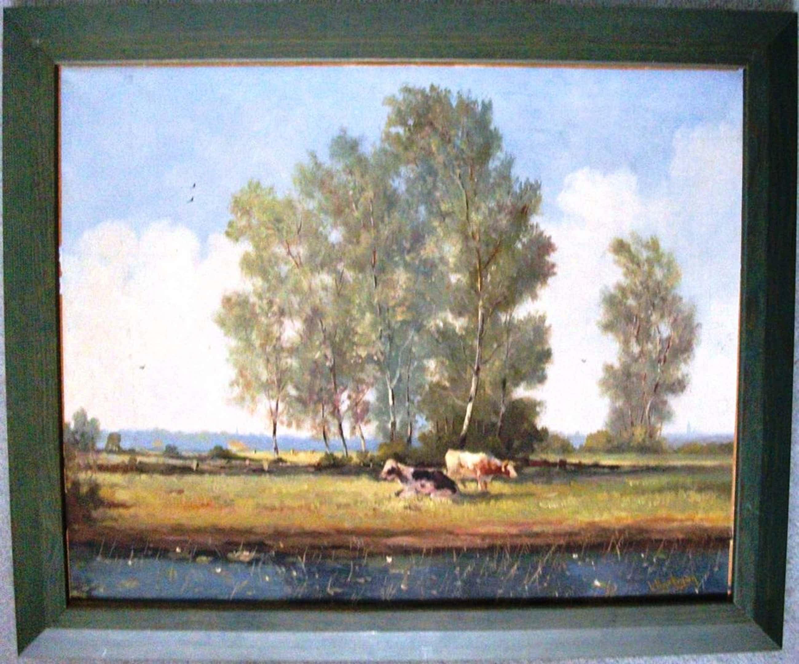 L Hartman:olieverf op doek, Koeien in de polder kopen? Bied vanaf 70!