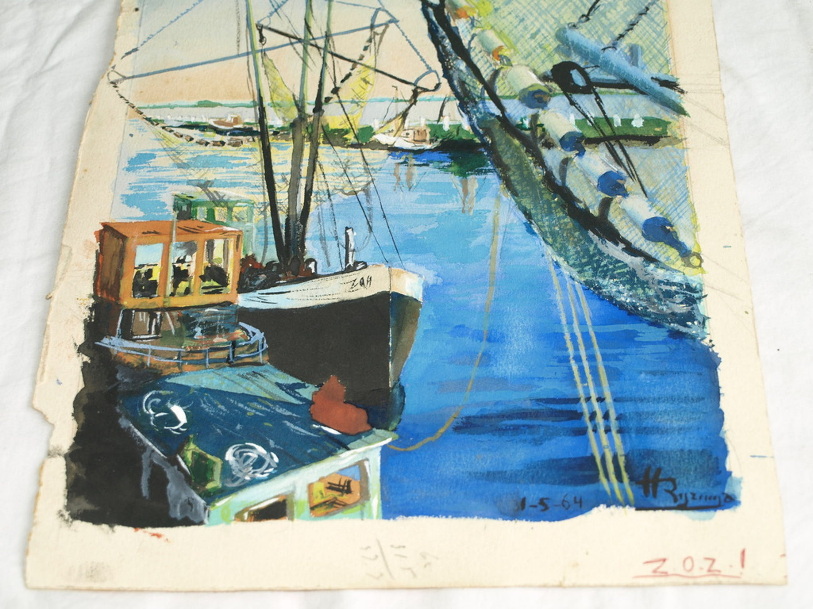 Henk Rijzinga (1946-2013) – Aquarel – Haven – Gesigneerd - 1964 kopen? Bied vanaf 1!
