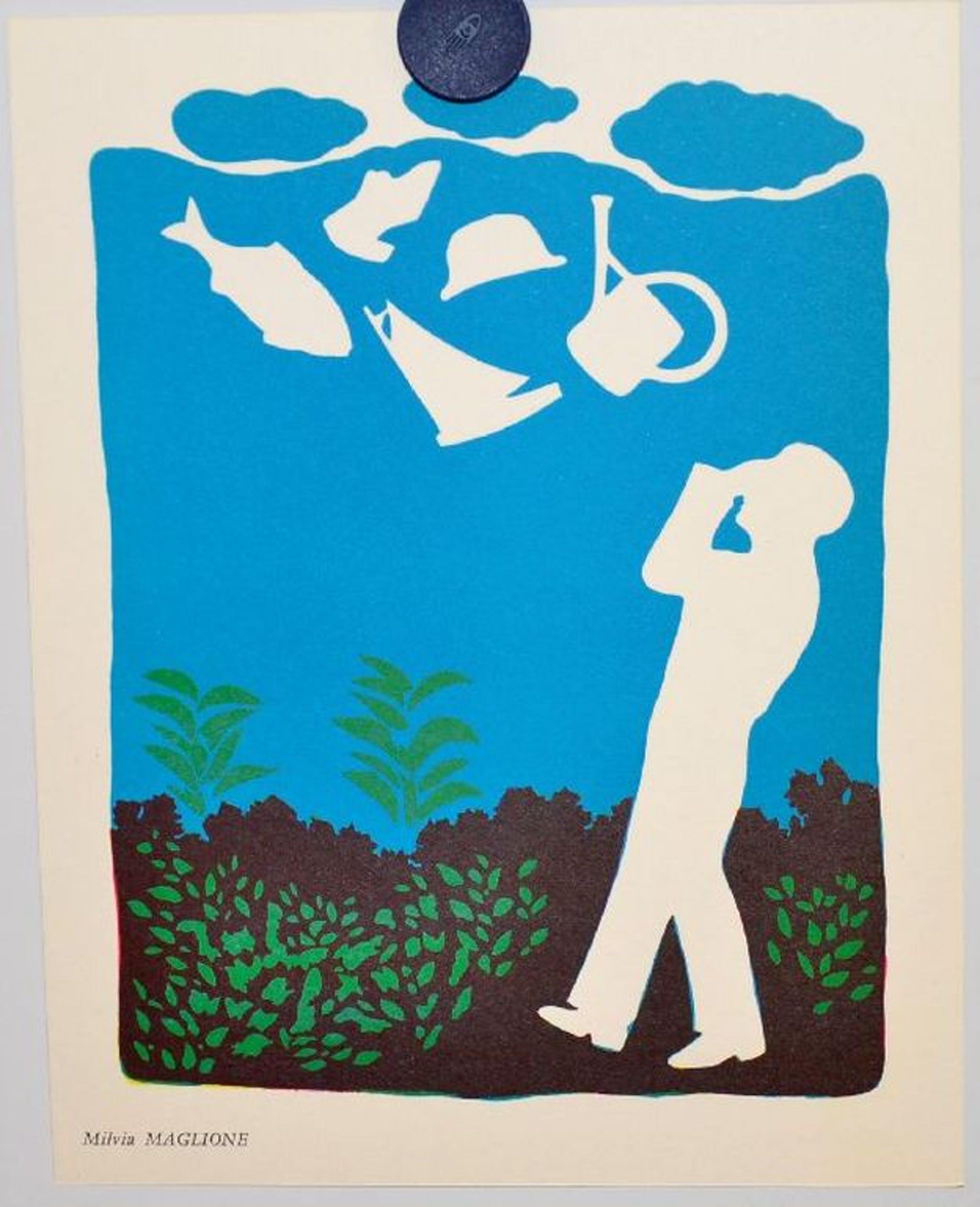 Milvia Maglione: Litho uit 1967. Man in tuin kopen? Bied vanaf 1!