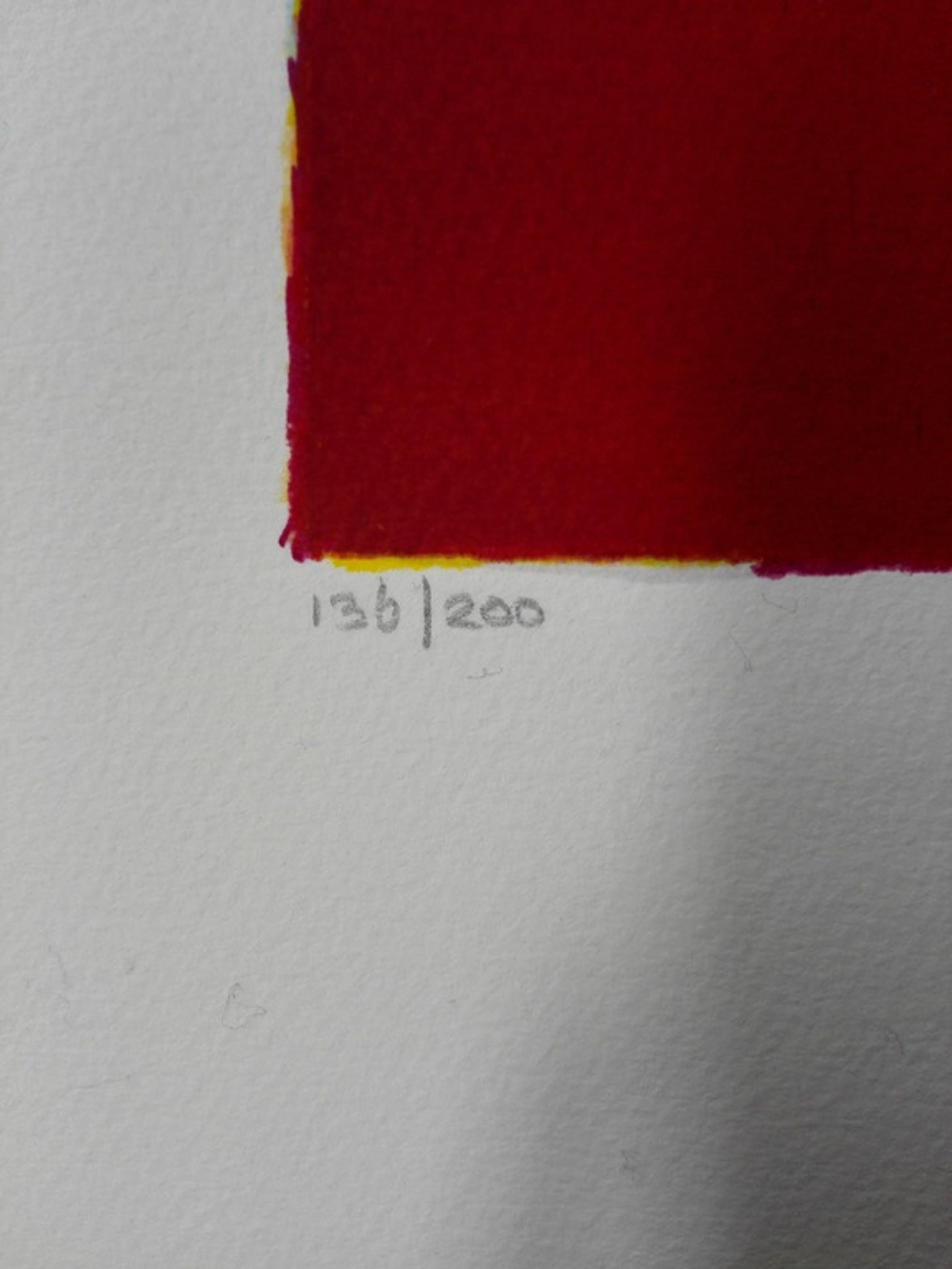 Mattie Schilders, zeefdruk , Titel: Gele rotsen, als wolken om een bergtop kopen? Bied vanaf 30!