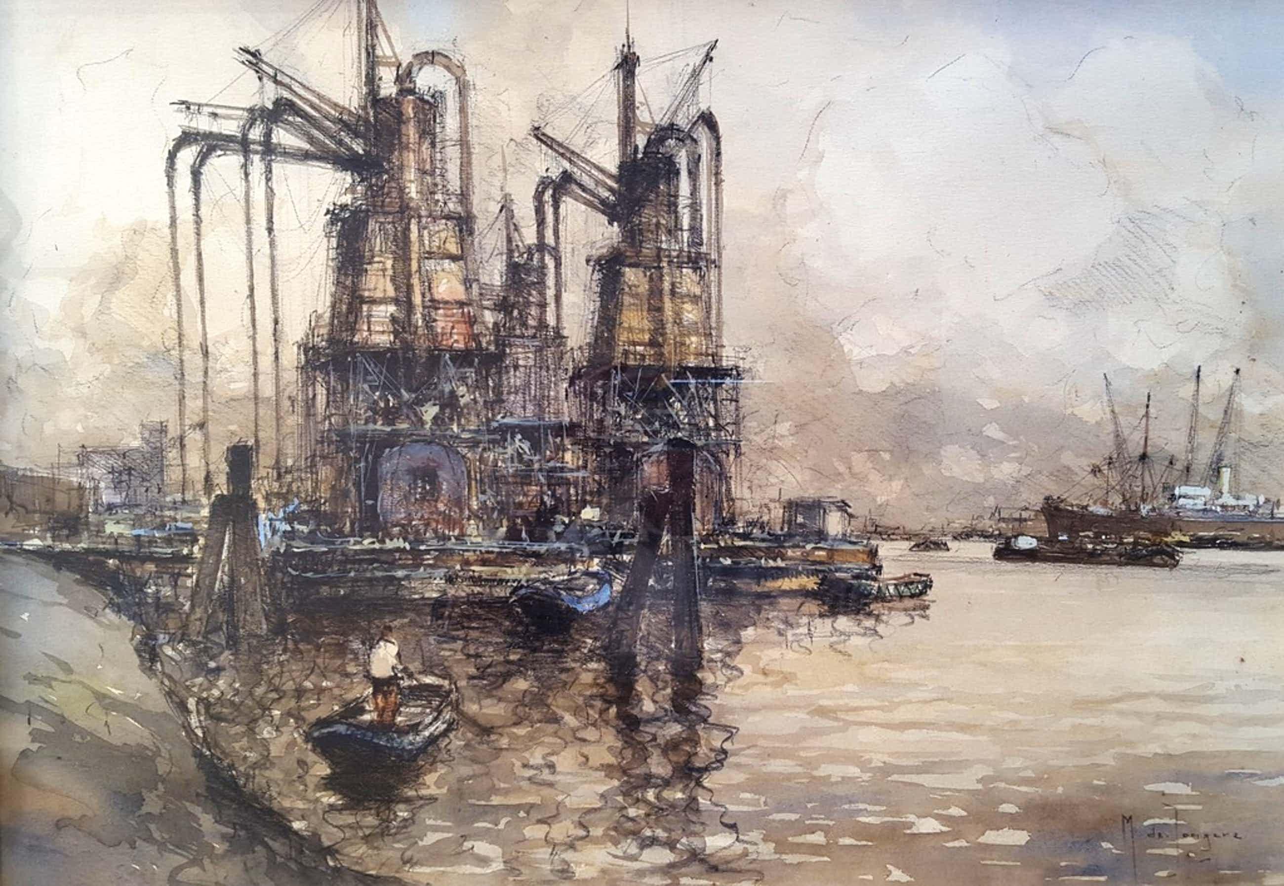 Marinus Johannes Drulman, (de Jongere) (1912-1978)-Tekening/aquarel, gesigneerd kopen? Bied vanaf 280!