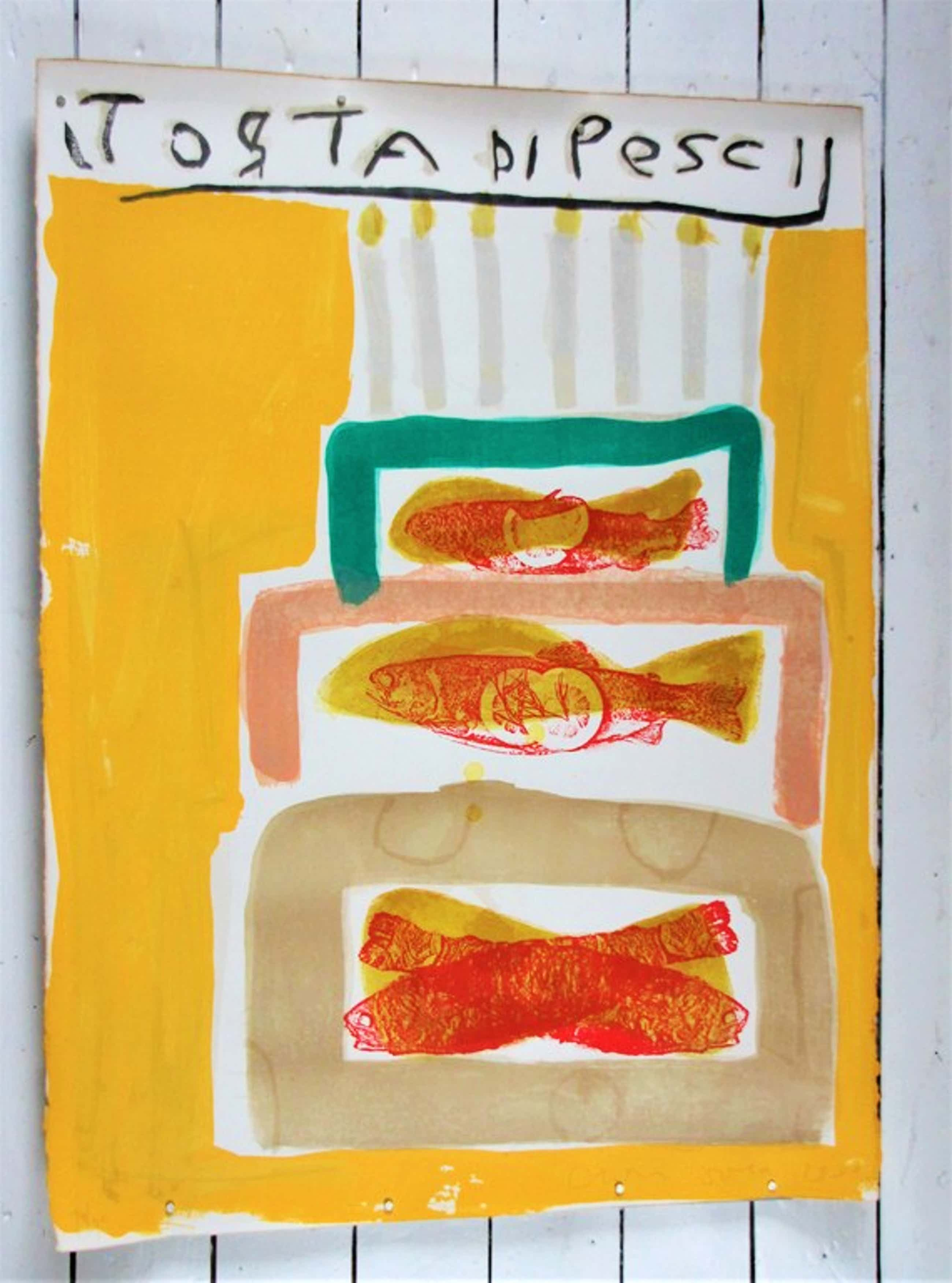Cees Dolk: Kleurenlitho, Torta di pesci, 1993 kopen? Bied vanaf 50!