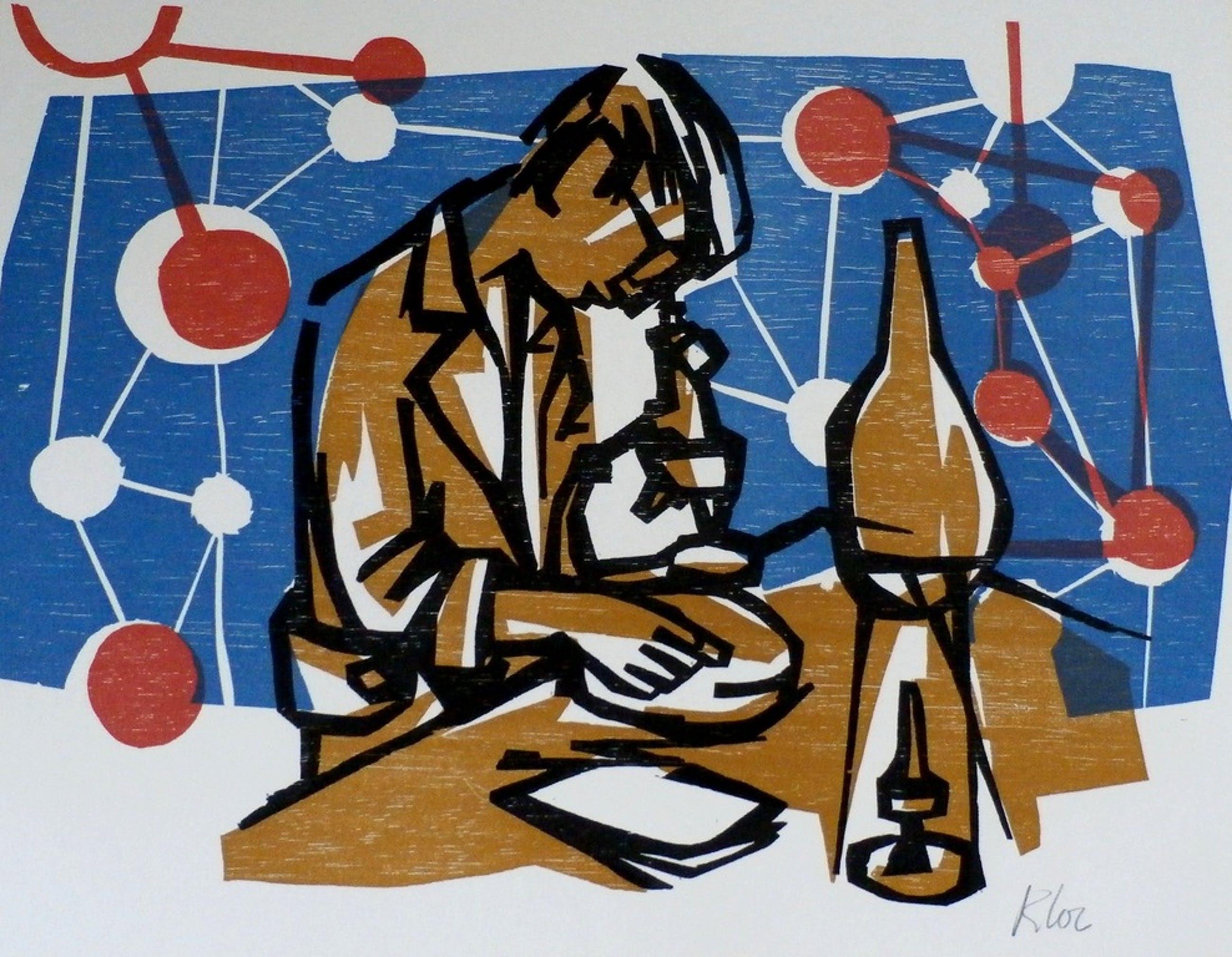 Rob Cox - houtsnede: laborant - 1961 kopen? Bied vanaf 35!