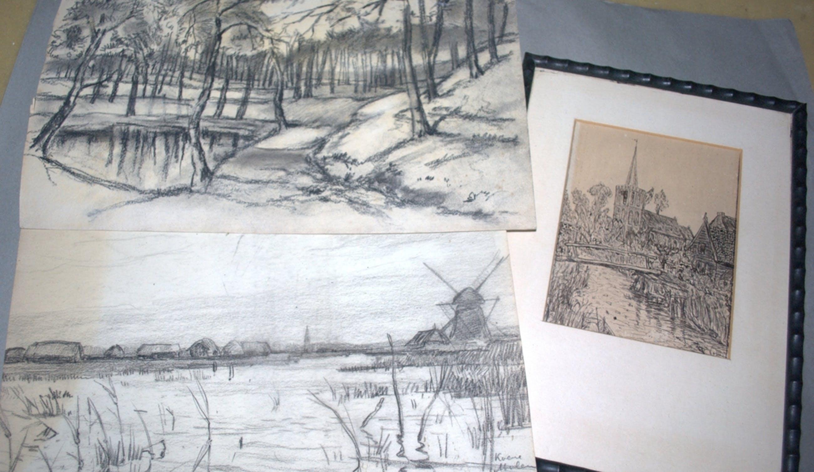 Kavel van 3 tekeningen, Roermeester, Hesterman, Volmer. kopen? Bied vanaf 25!