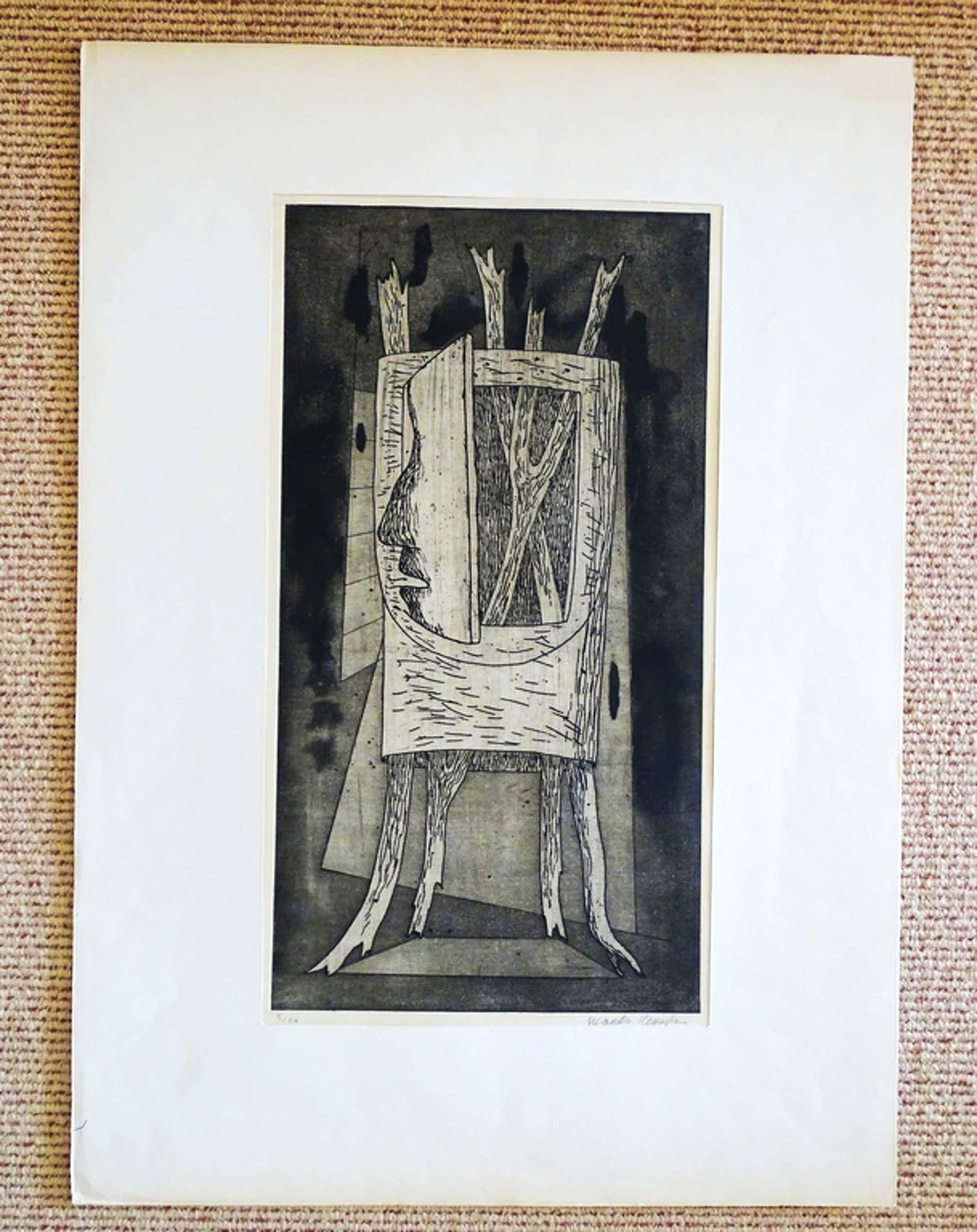 Wout van Heusden, Open deurtje, ets, 1947 kopen? Bied vanaf 50!