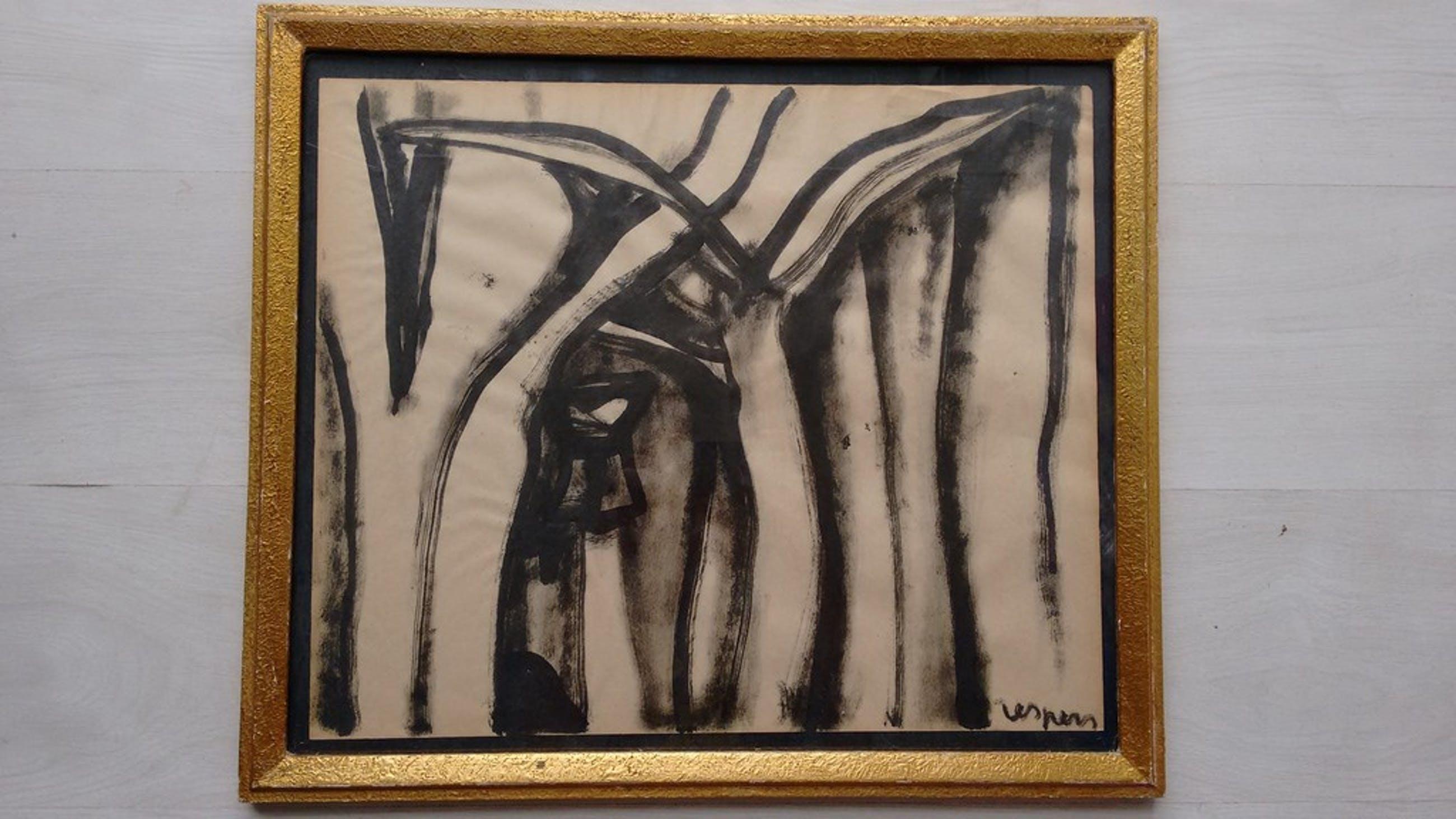 Floris Jespers origineel schilderij op papier, Congolees tafereel, circa 1950 kopen? Bied vanaf 400!