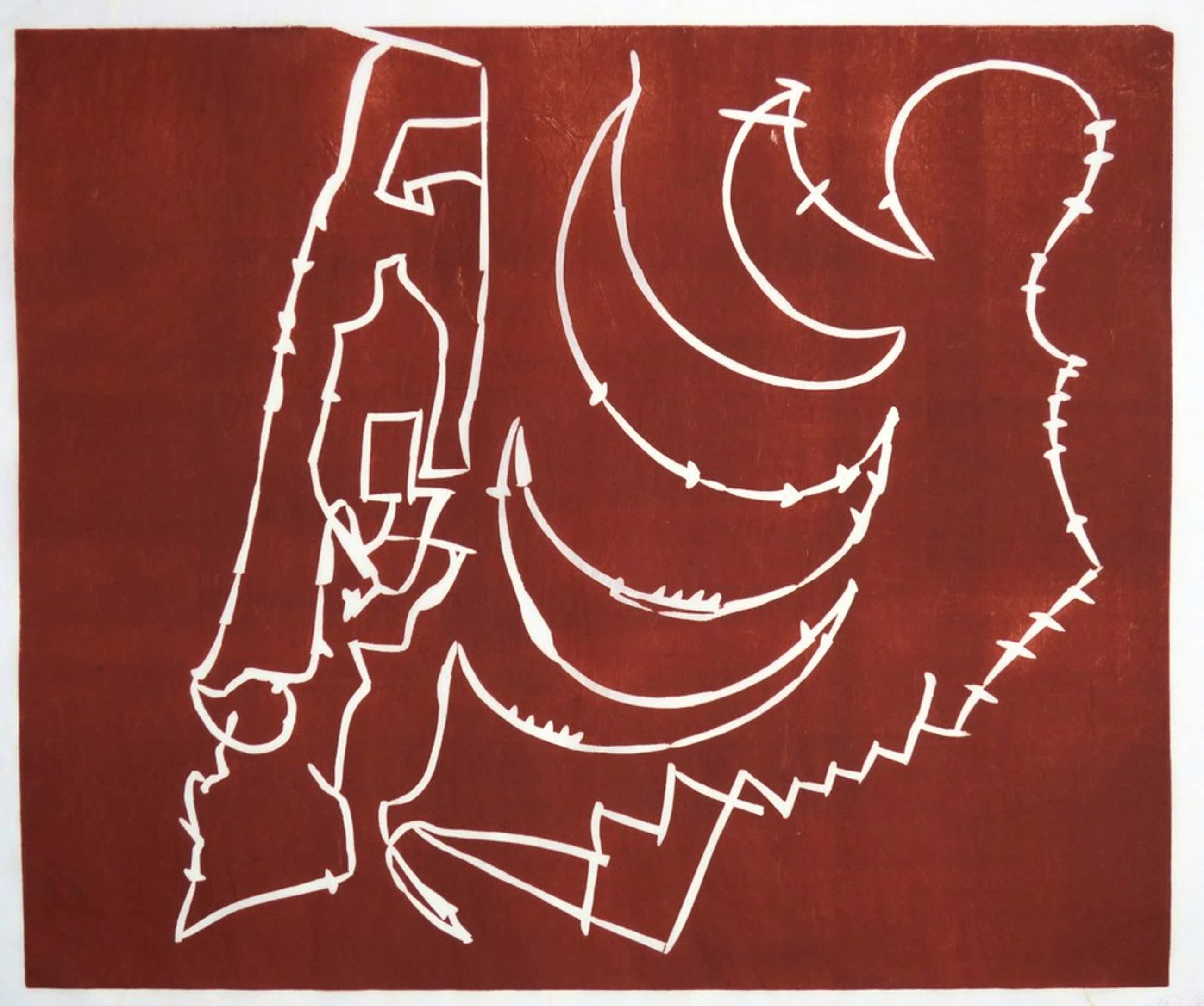 Wim Izaks: Lino op rijstpapier, Zonder titel rood (groot) kopen? Bied vanaf 60!