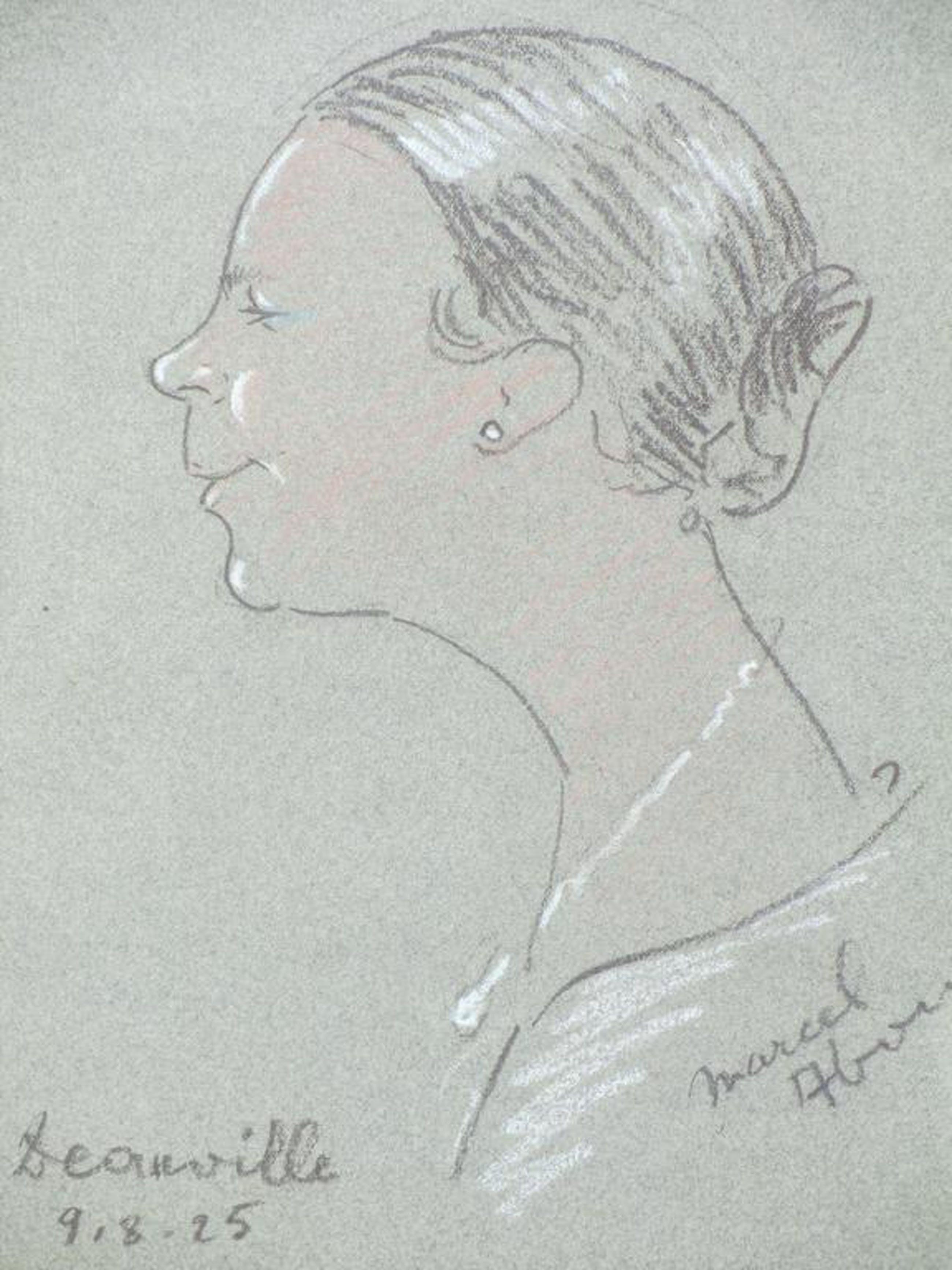 Dame en profil, Deauville 1925, ond.gesigneerd kopen? Bied vanaf 25!