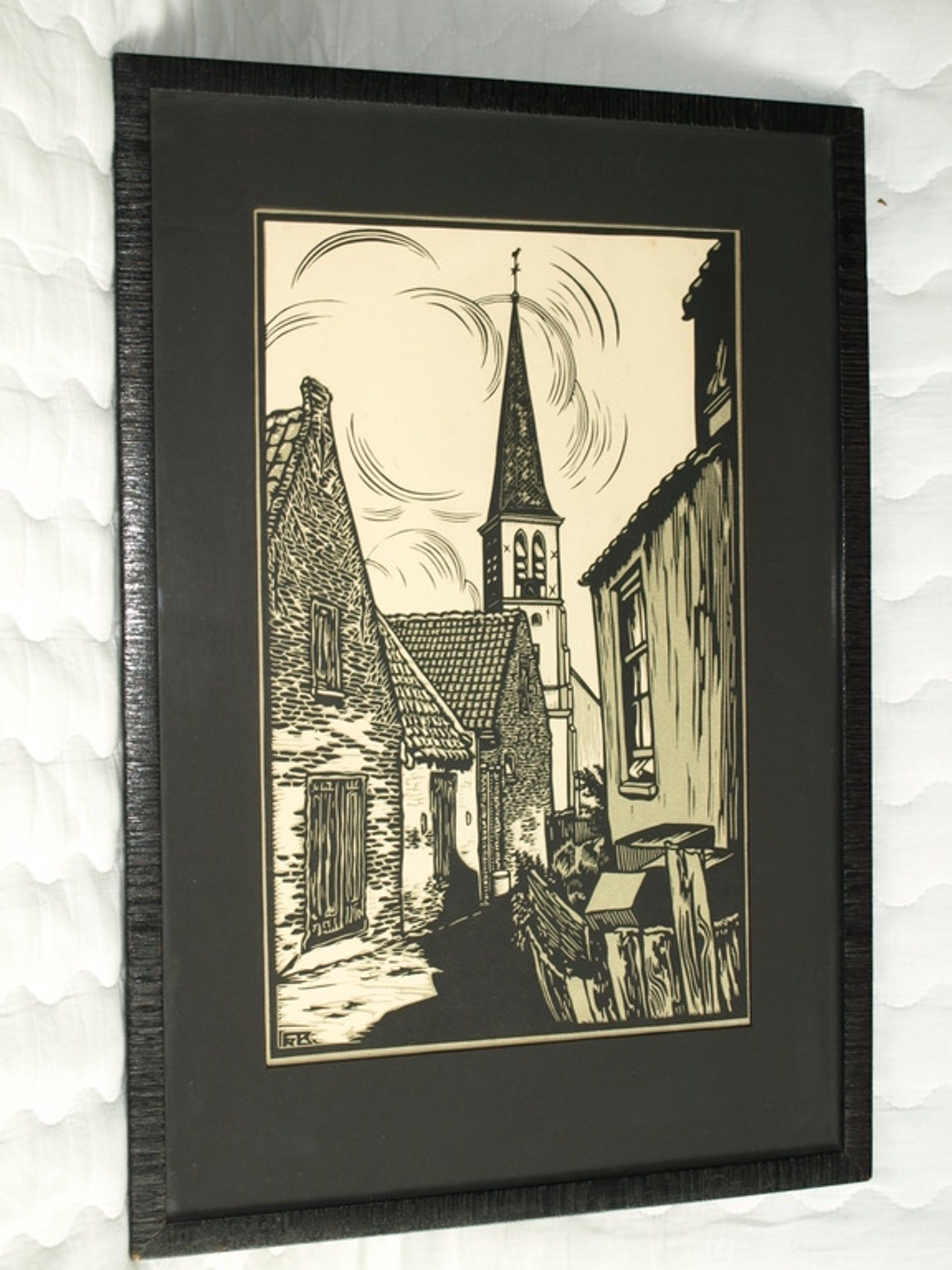 Frans Bosen – Straatje in Zandvoort - Linoleumsnede – Drukgesigneerd – ca 1940  kopen? Bied vanaf 40!