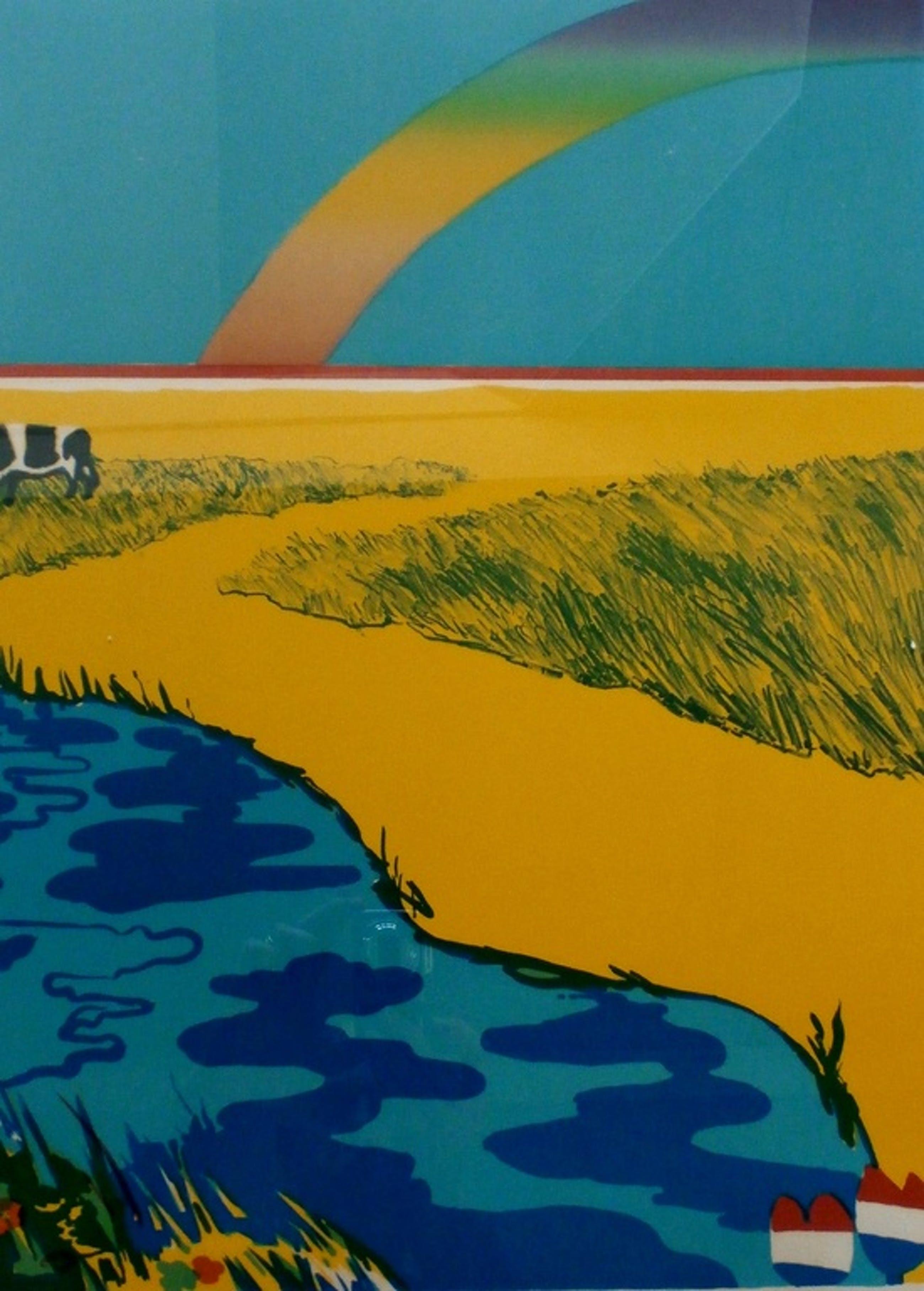 Jan Cremer - ingelijste litho: Hollands landschap na de regen - 1971 - oplage:80 kopen? Bied vanaf 249!