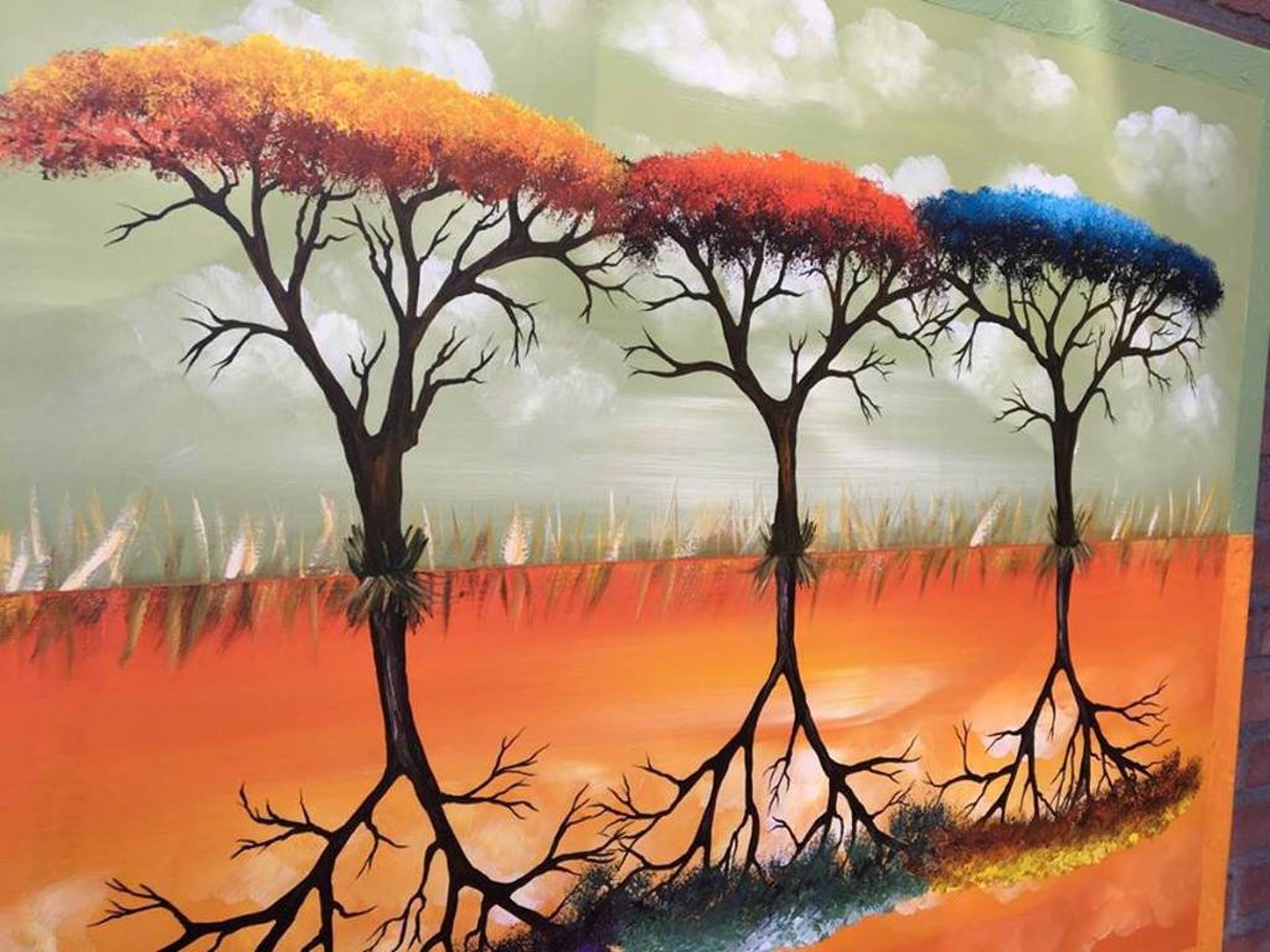 Gena - Bomen - acrylverf op doek - Gesigneerd - 2016 kopen? Bied vanaf 200!