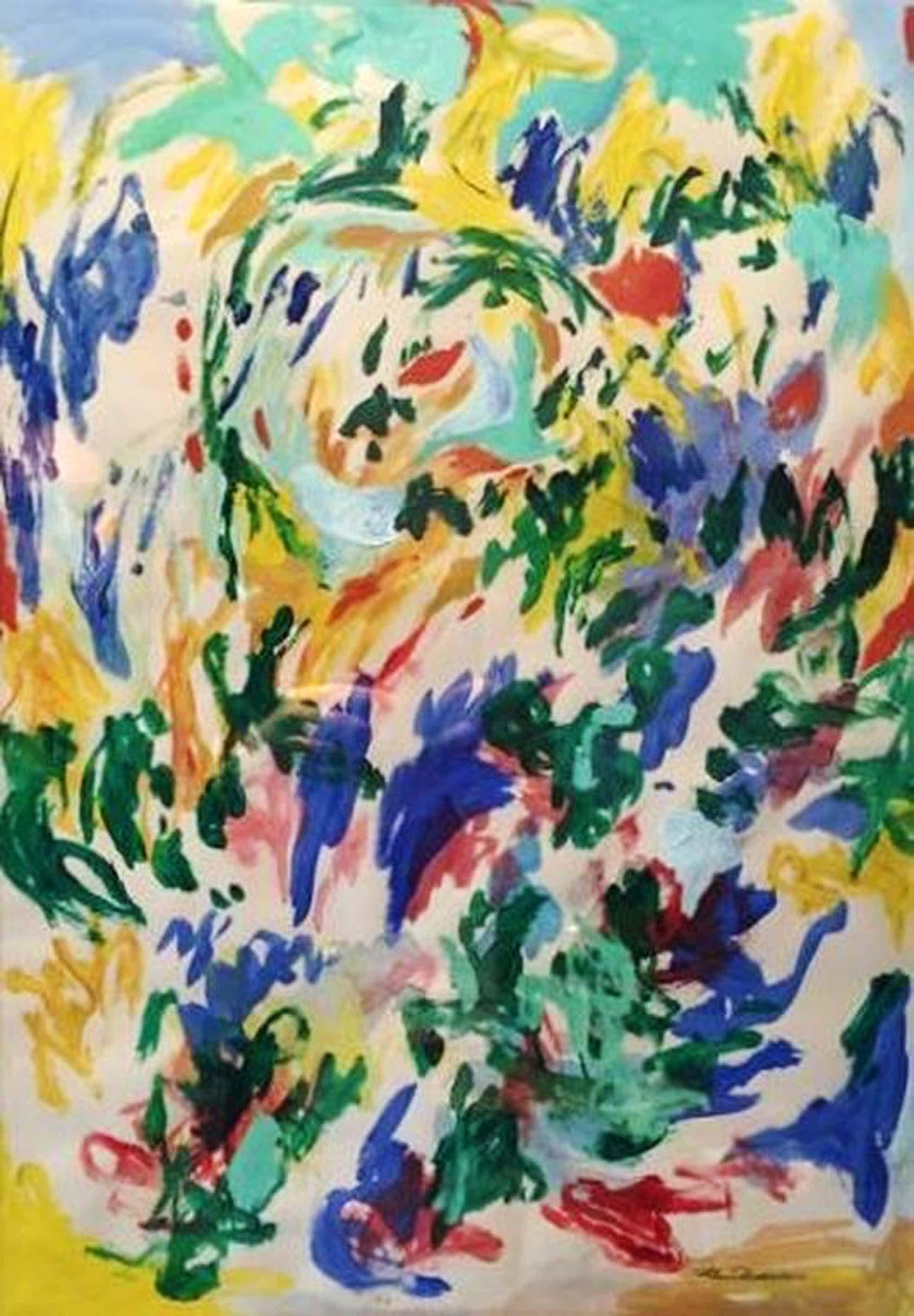 Finn Pedersen groot schilderij op papier, gesigneerd kopen? Bied vanaf 250!