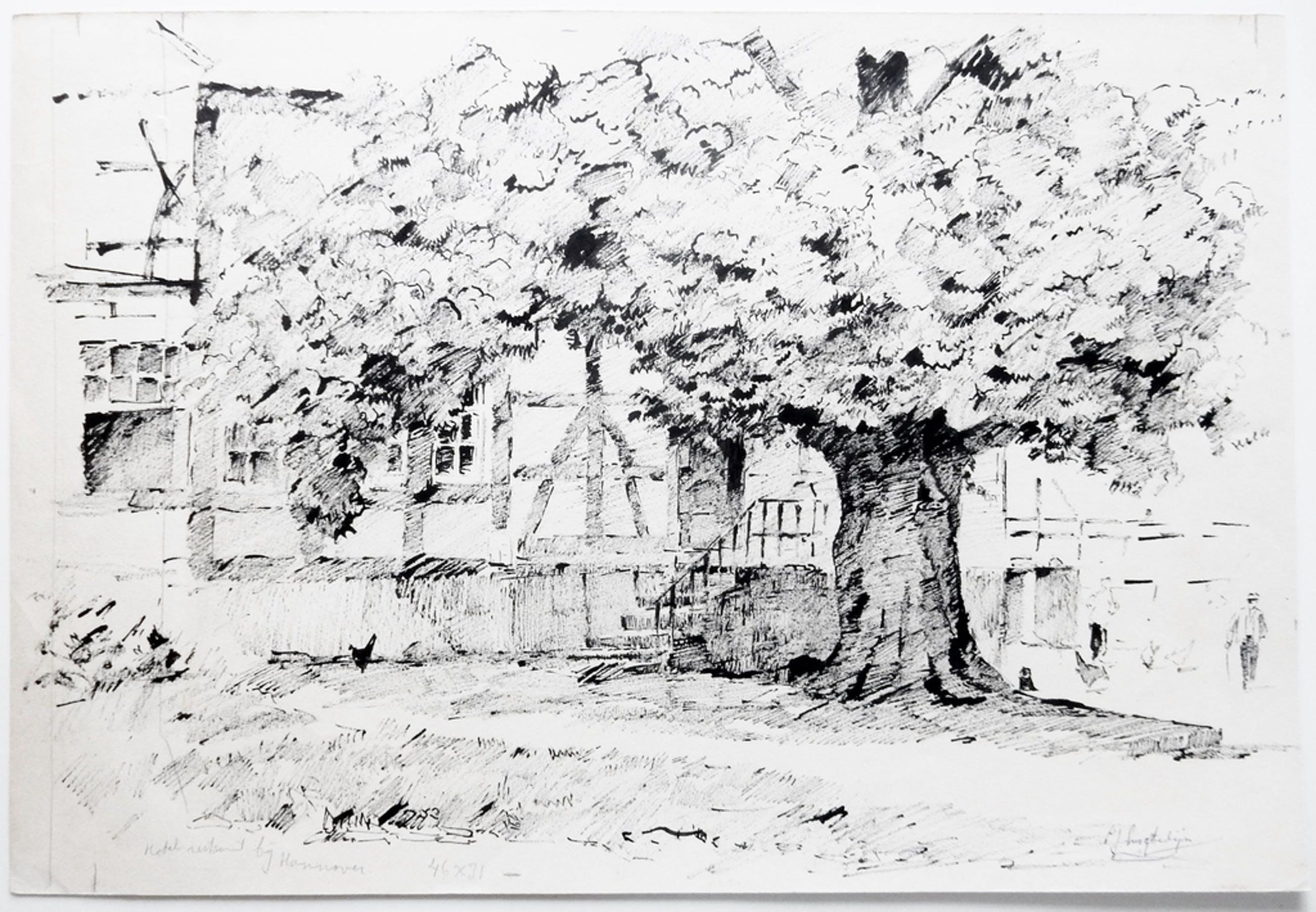 Evert-Jan Ligtelijn (1893-1975) - Inkttekening Hannover, rond 1955 kopen? Bied vanaf 125!