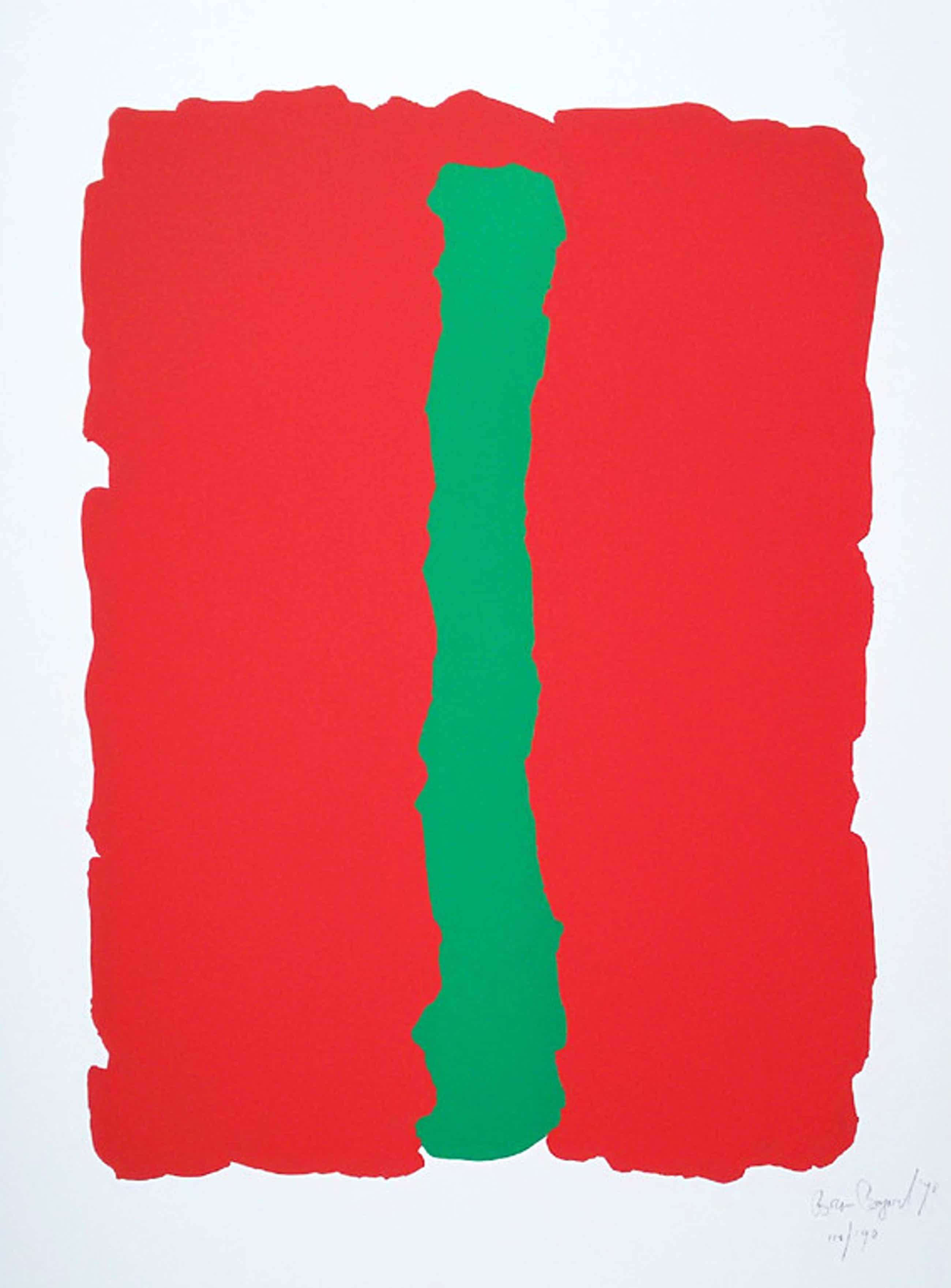 Bram Bogart - Compositie in groen en rood, zeefdruk kopen? Bied vanaf 325!