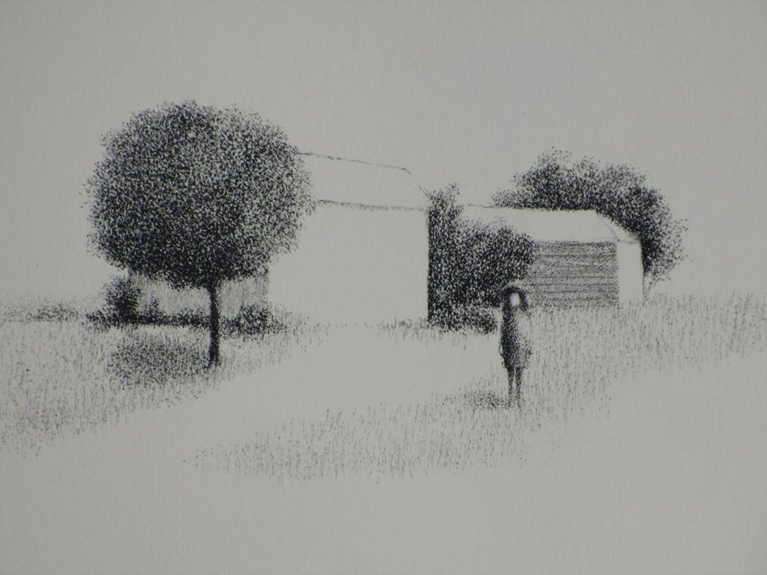 Metten Koornstra, Meisje in surrealistisch landschap, Litho kopen? Bied vanaf 75!