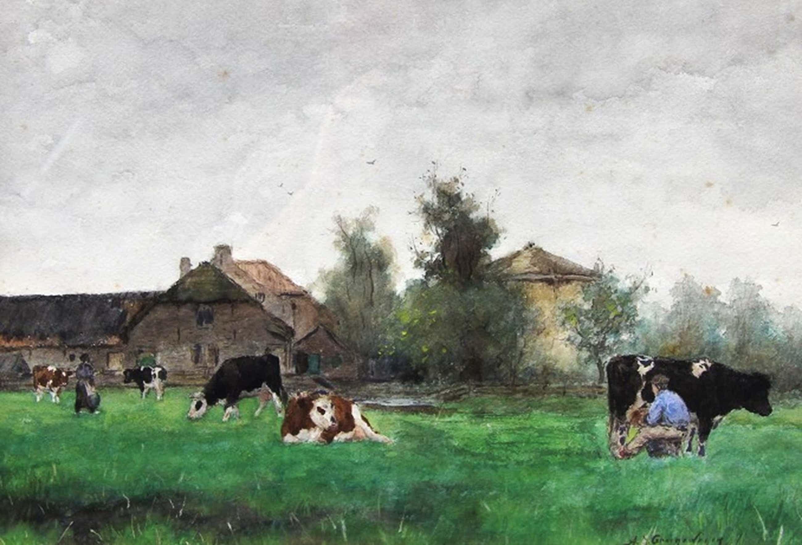 Aquarel A.J.Groenewegen 1874-1963 Koeien/Boer/Boerin/Boerderij kopen? Bied vanaf 850!