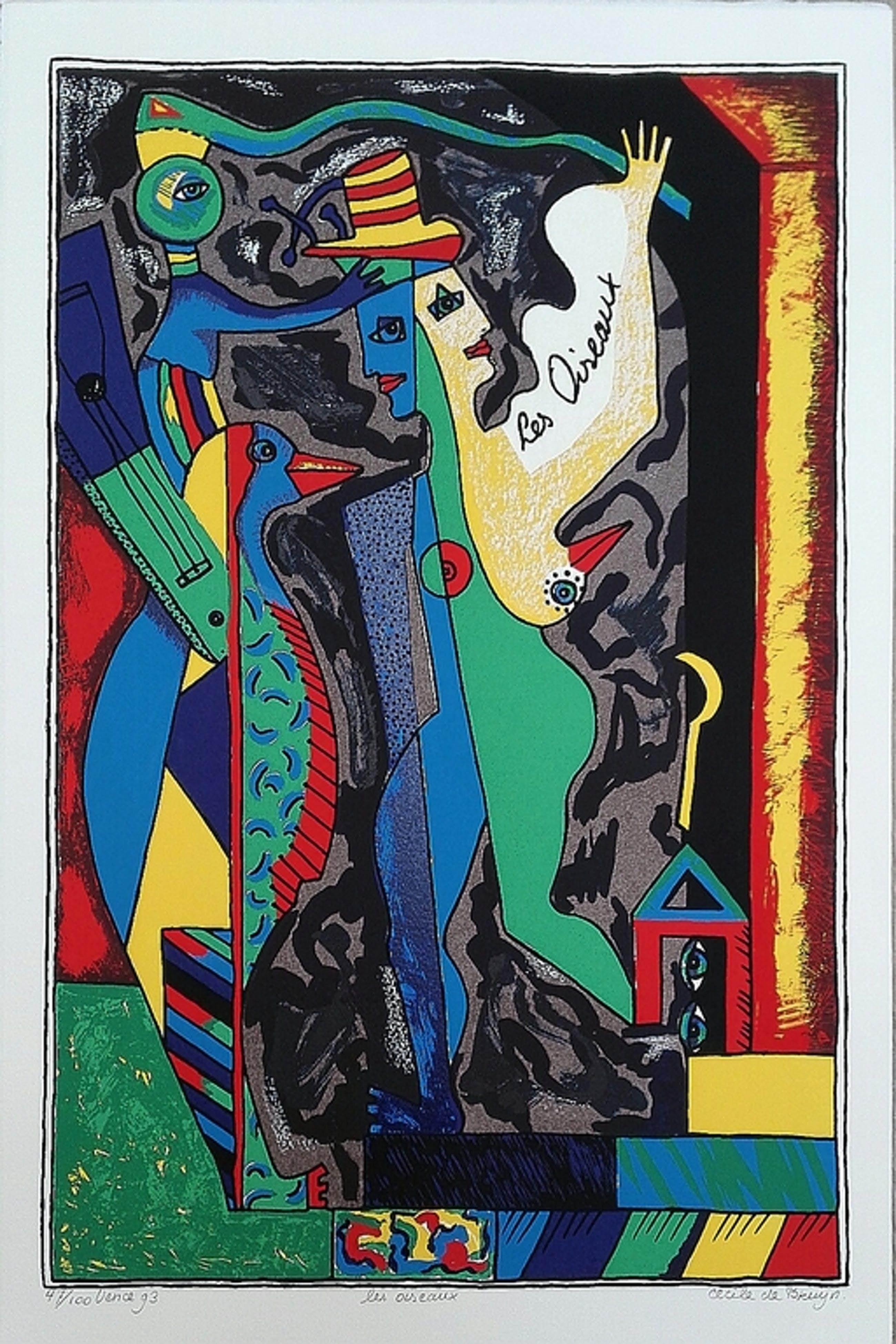 Cecile de Bruijn, zeefdruk op papier, Titel: Les Oiseaux kopen? Bied vanaf 10!