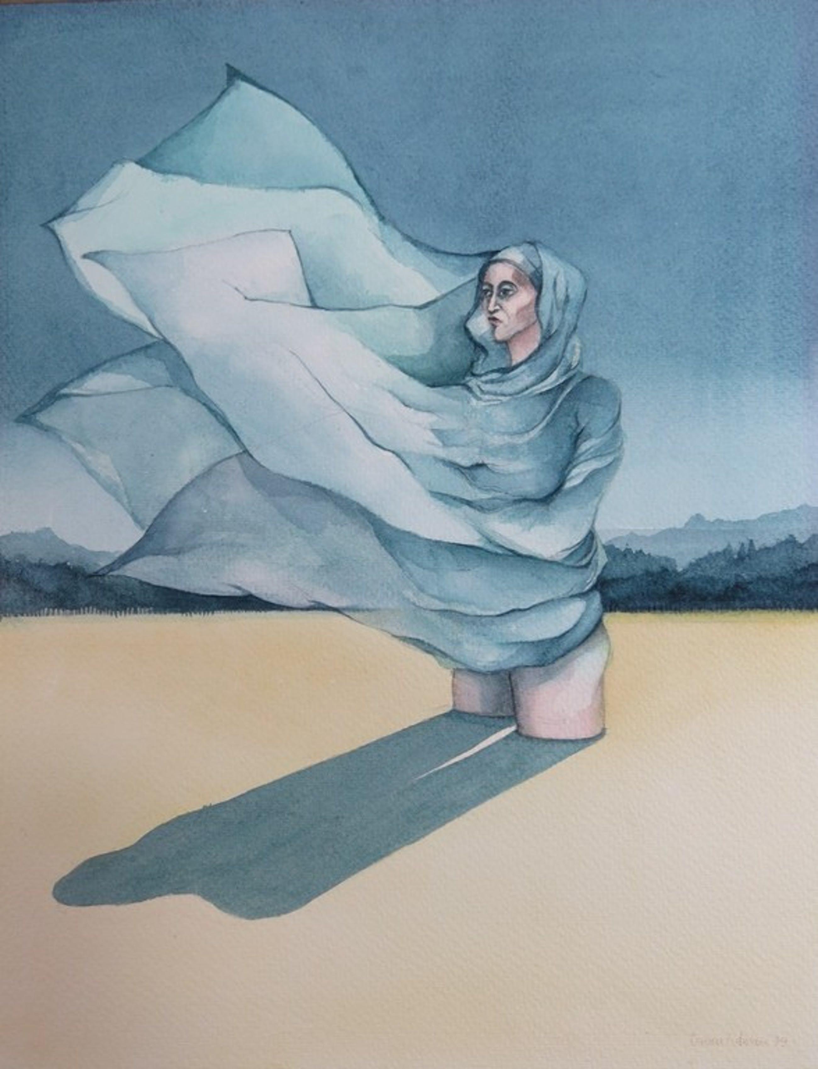 Dorien Putman: Aquarel, Vrouw in landschap kopen? Bied vanaf 1!