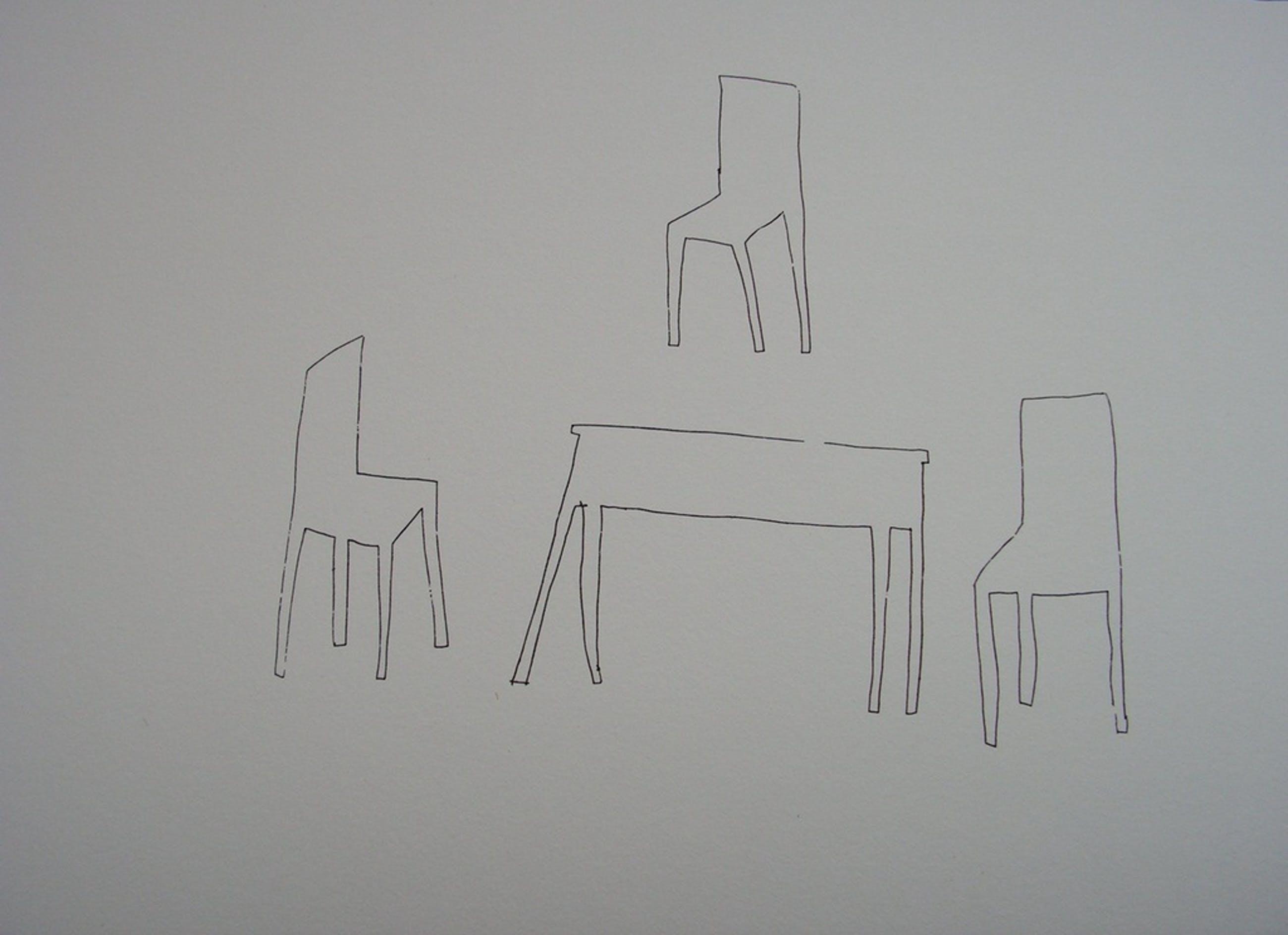 Tafel 3 Stoelen.Klaas Gubbels Zeefdruk Gesigneerd Tafel Met 3 Stoelen
