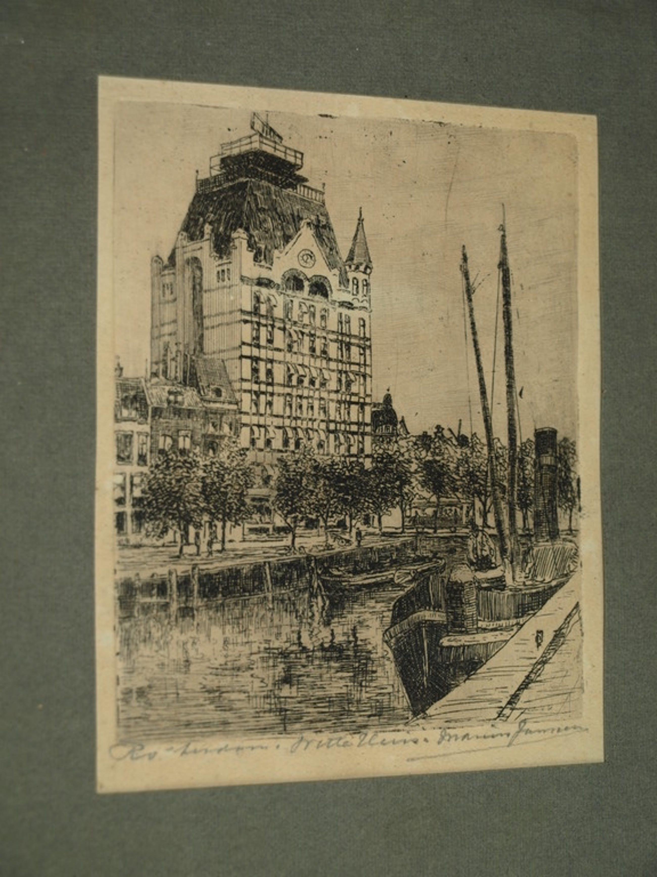 MARIUS JANSSEN  - Ets – Witte huis Rotterdam – Gesigneerd en ingelijst – ca 1925 kopen? Bied vanaf 1!