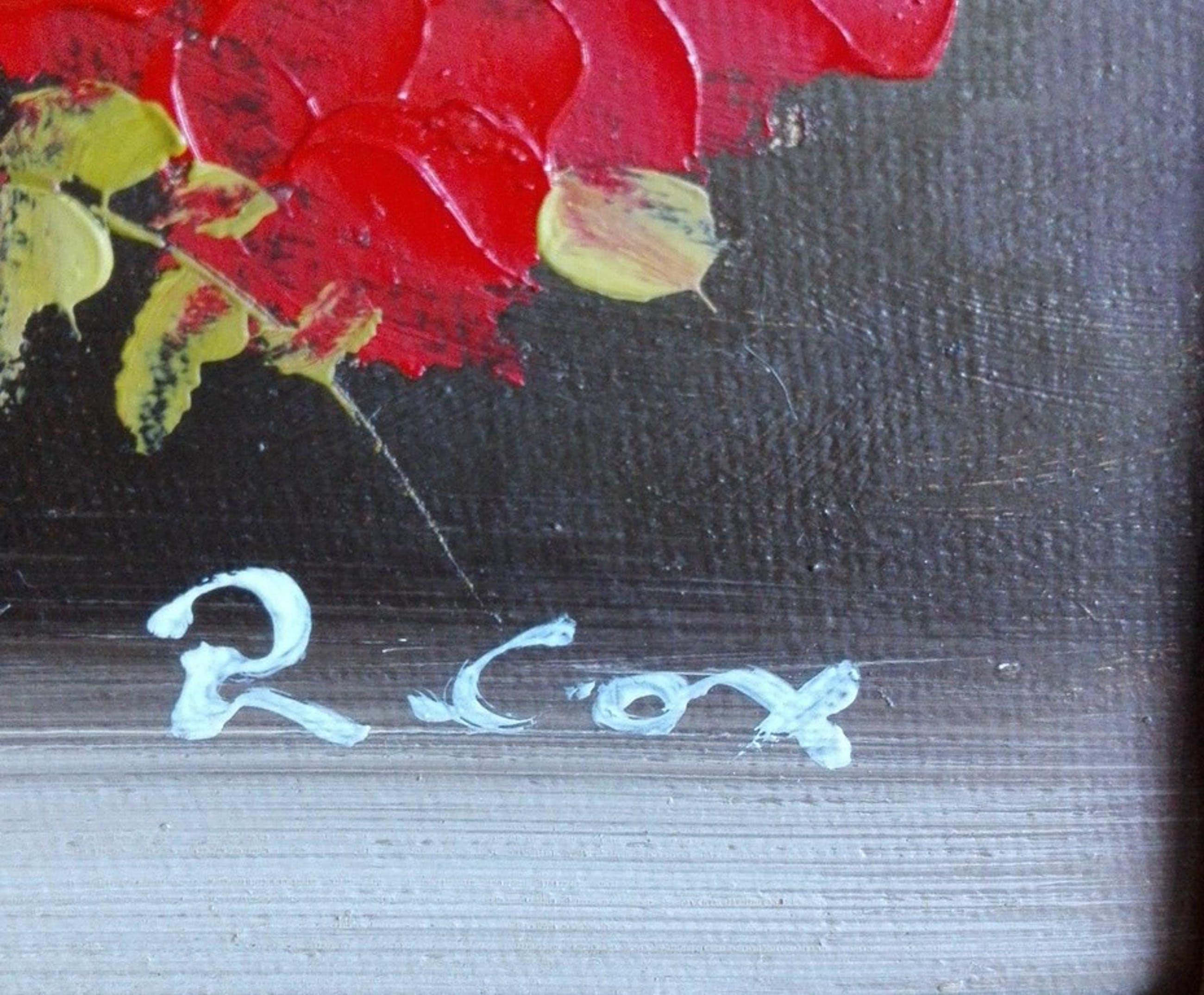 R. Cox: Olieverf op board, stilleven van rode rozen kopen? Bied vanaf 1!