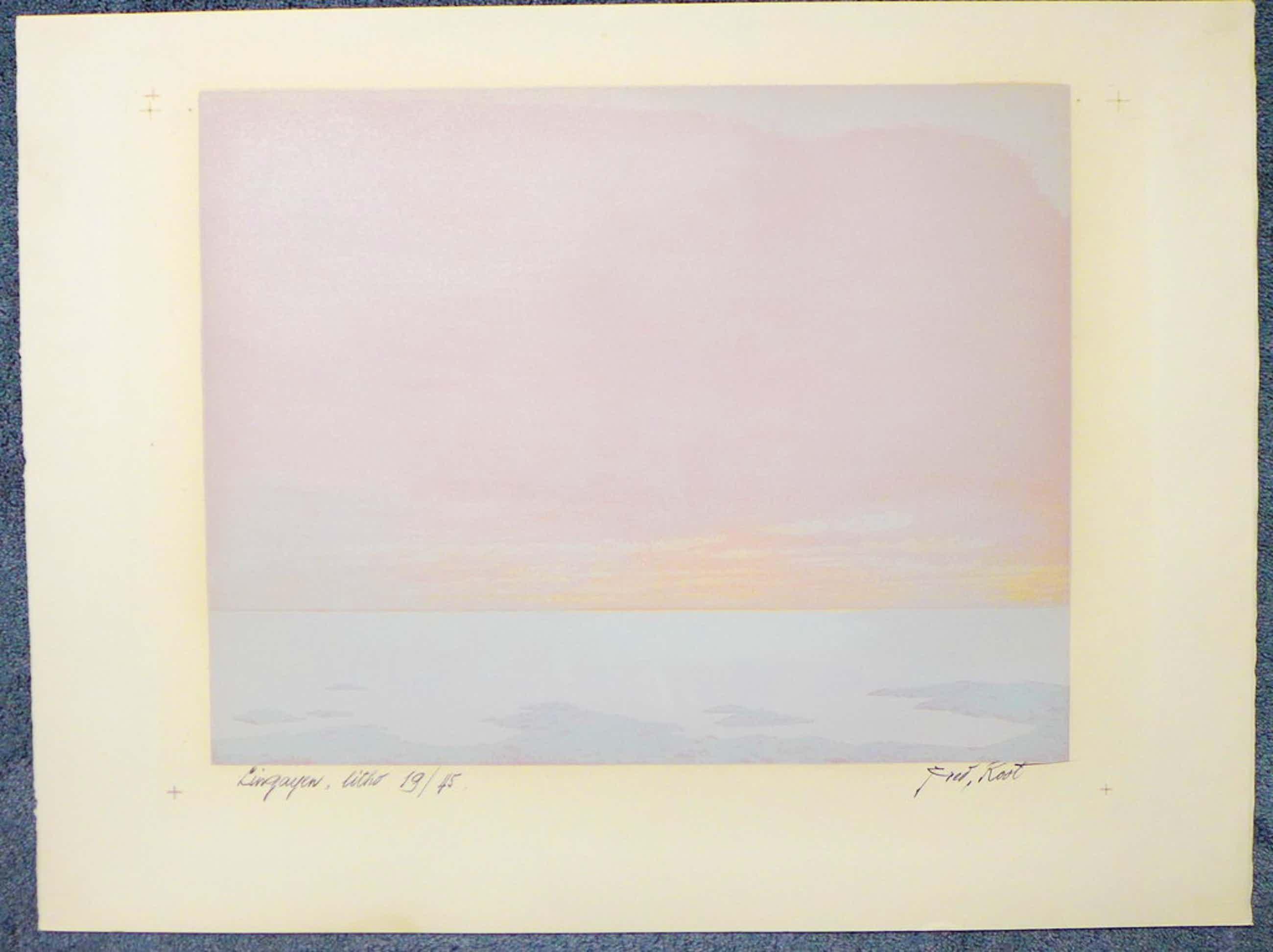 Fred Koot, litho, titel Lingayen oplagenummer 19/45 beeldformaat 34.7 x 45. cm.  kopen? Bied vanaf 50!
