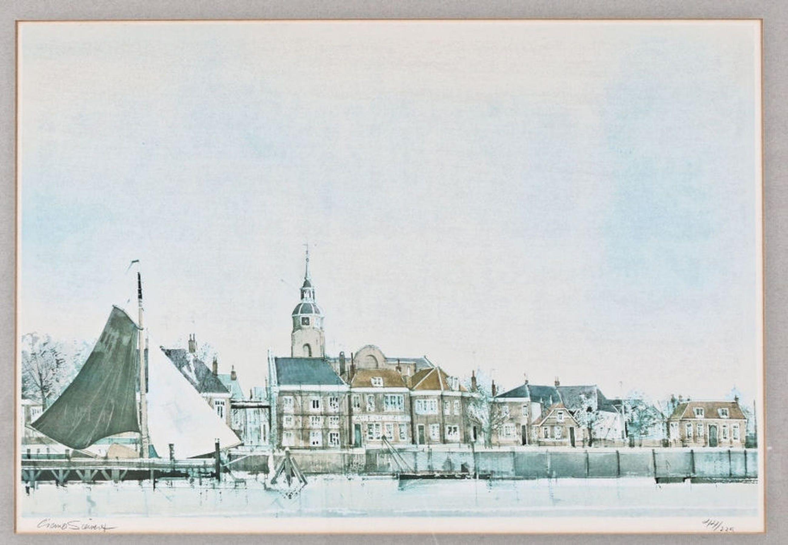Ciano Siewert - litho - haven van Blokzijl met skûtsje kopen? Bied vanaf 25!