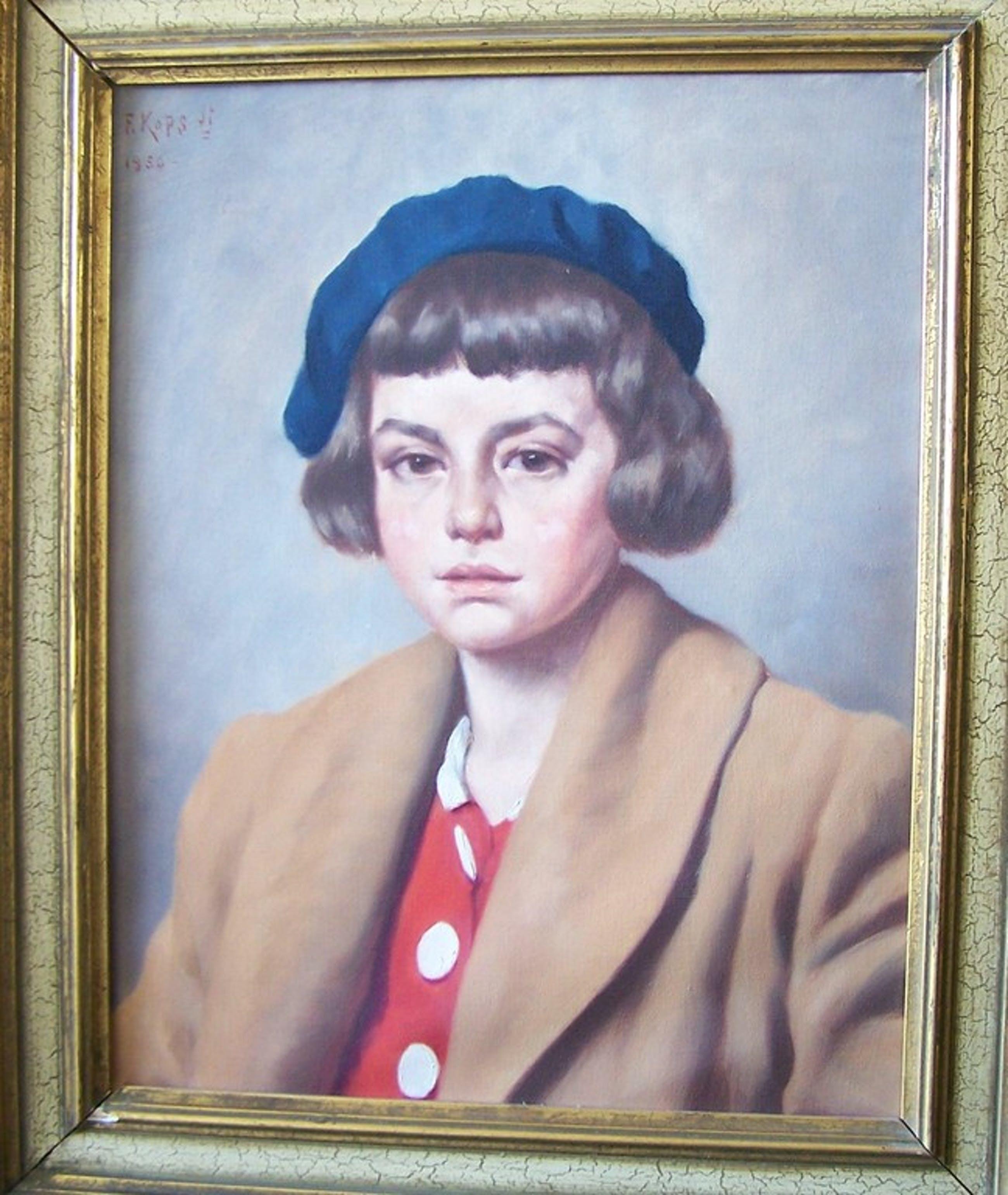 FRANS  KOPS  -  olieverfschilderij  ' Meisje met blauwe baret ' kopen? Bied vanaf 150!