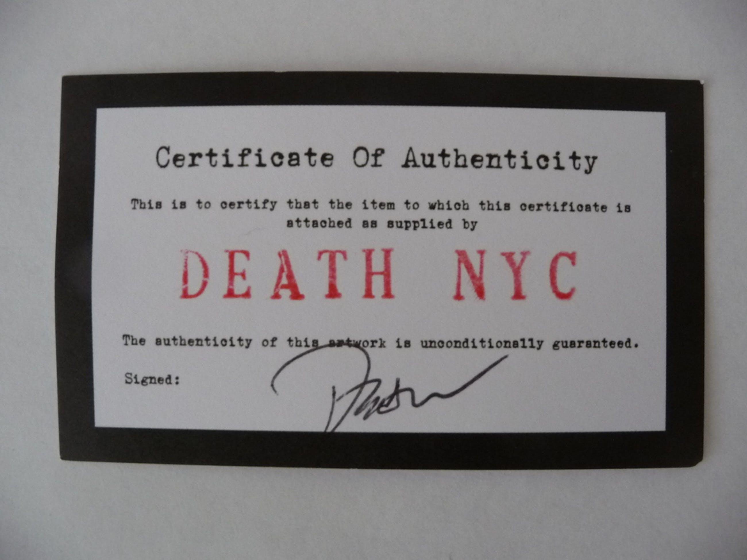 origineel 'street-art' werk op 1$ biljet van DEATH NYC incl. COA kopen? Bied vanaf 1!