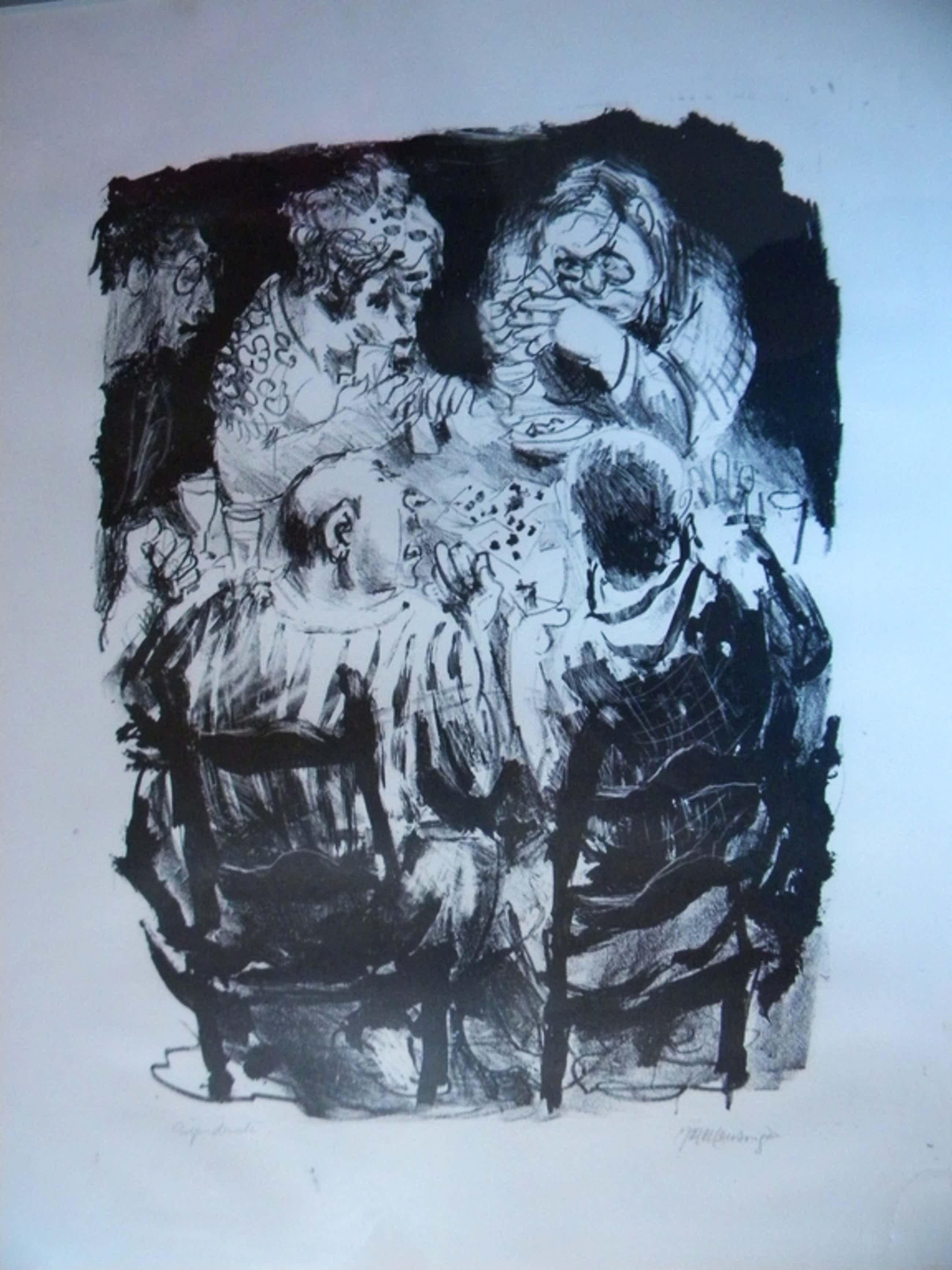 "Jan Mensinga- lithografie ""Kroegfiguren"" kopen? Bied vanaf 45!"