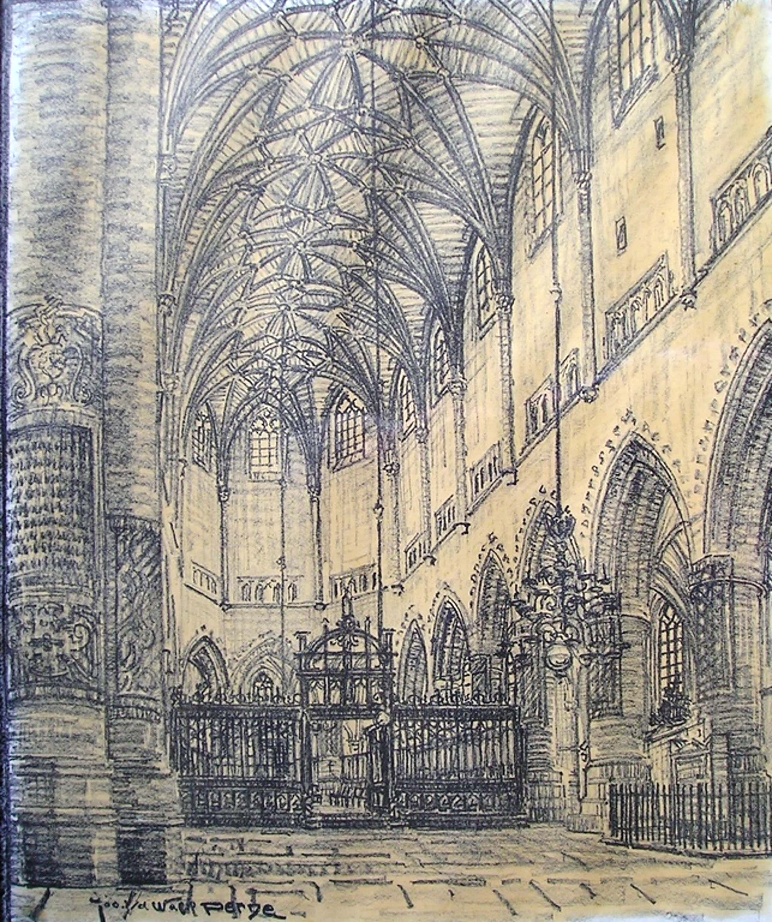 Jos van de Wall Perne (1877-1941) grafiek Interieur van St. Bavokerk Haarlem  kopen? Bied vanaf 35!
