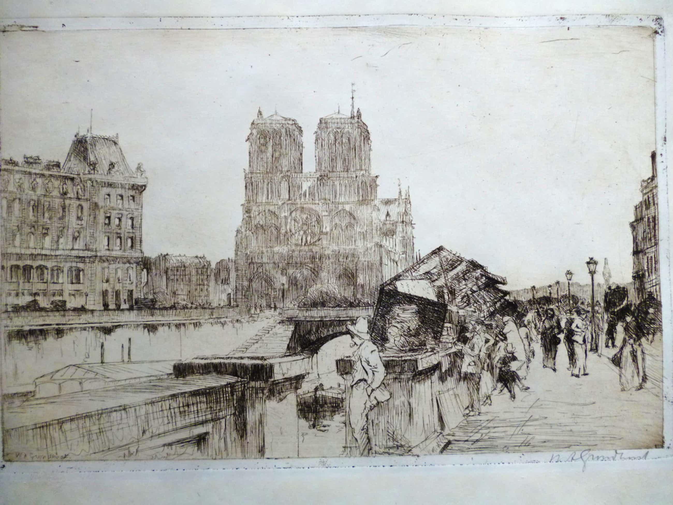 Willem Adrianus Grondhout - ets - Boekenstalletjes langs de Seine kopen? Bied vanaf 46!