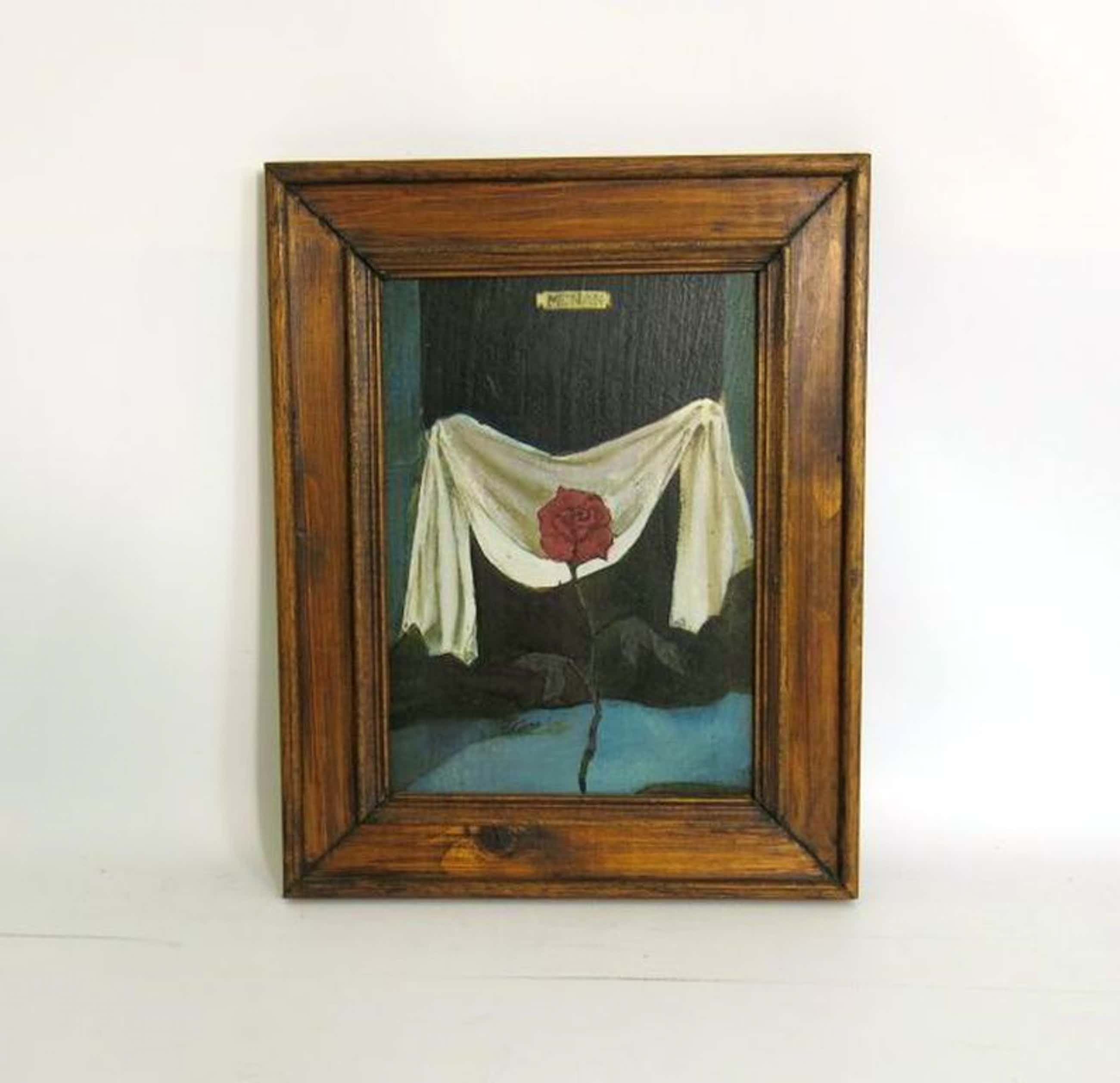 Manuel Menan: Schilderij, Roos voor wit doek kopen? Bied vanaf 40!