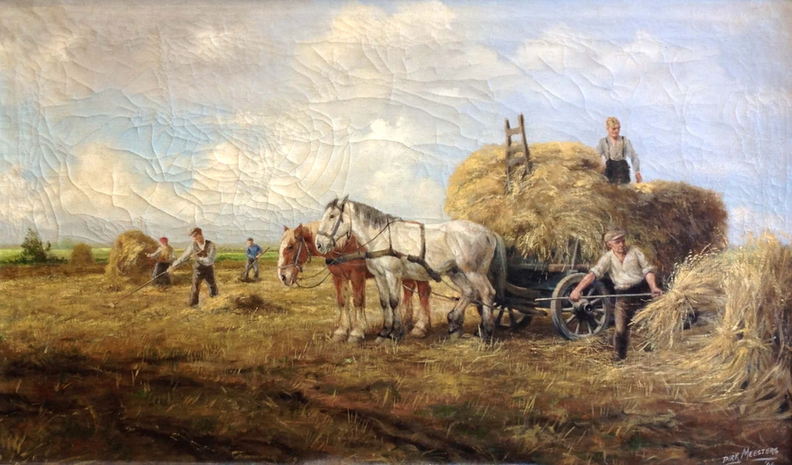 Dirk Meesters, Olieverf op doek, Werkende boeren op het land kopen? Bied vanaf 100!