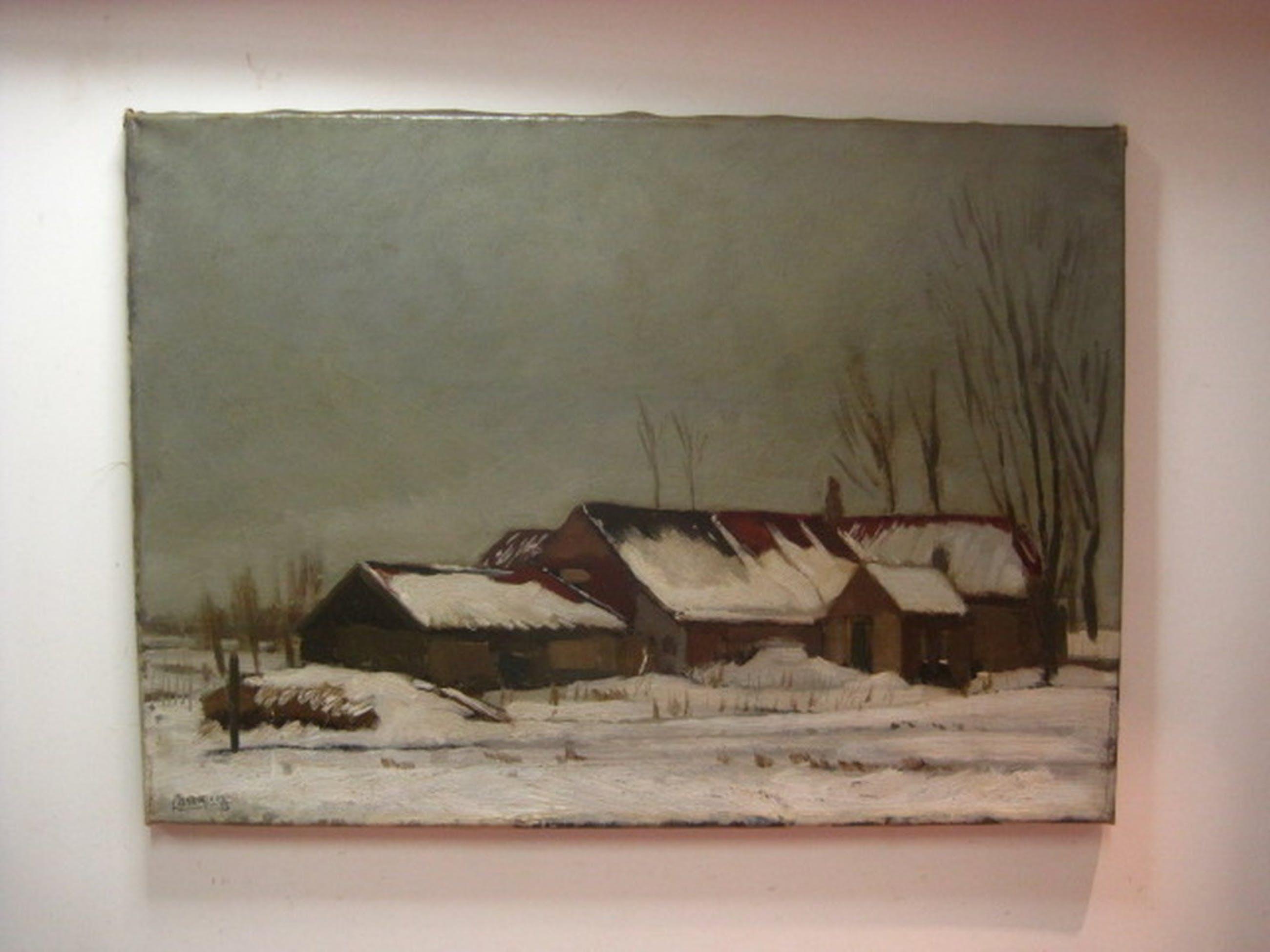 """Charles J Kemper olieverf """"Winterlandschap bij Overschie"""" gesigneerd ca. 1940 kopen? Bied vanaf 1!"""