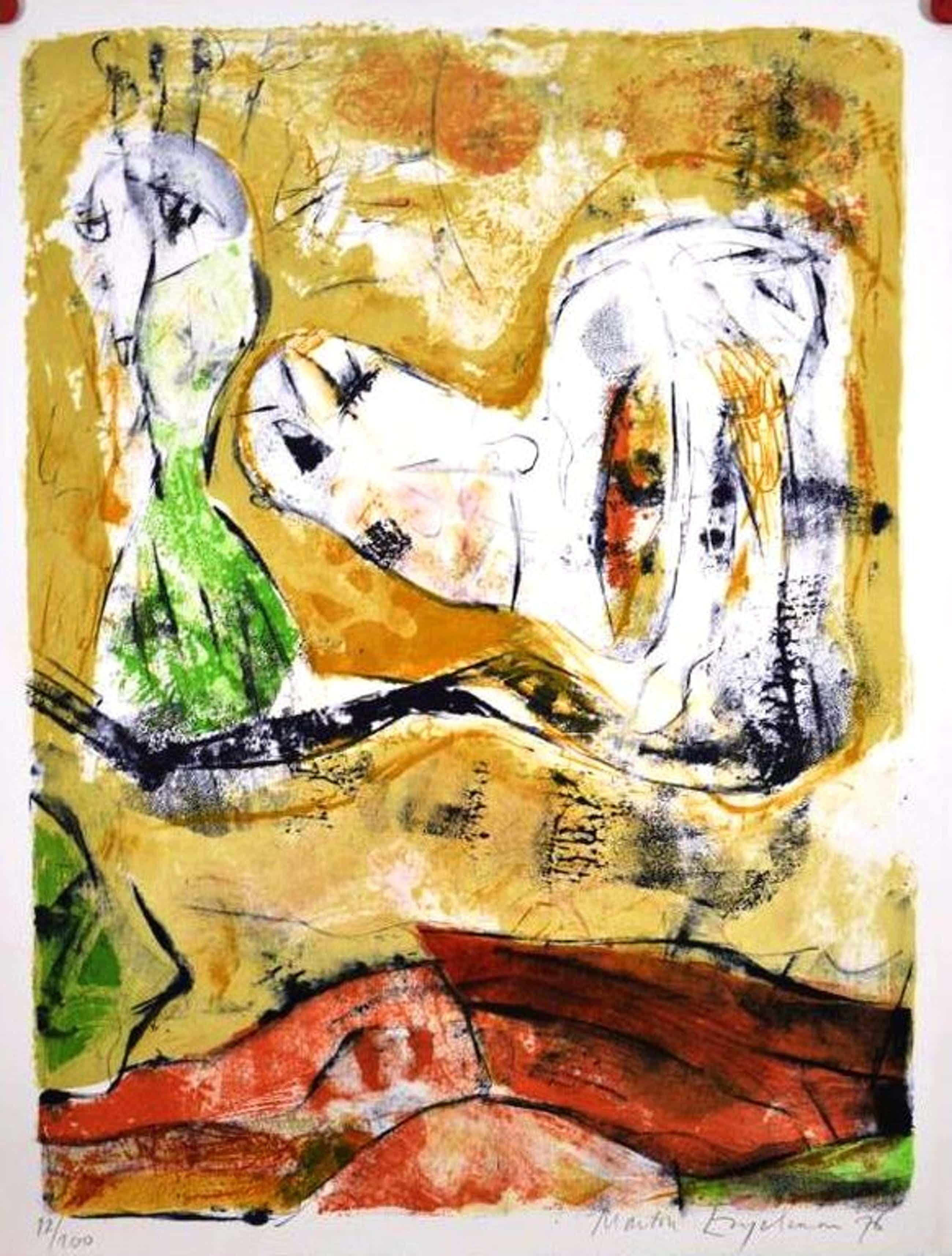 Martin Engelman: Kleurenlitho, Compositie met figuren kopen? Bied vanaf 47!