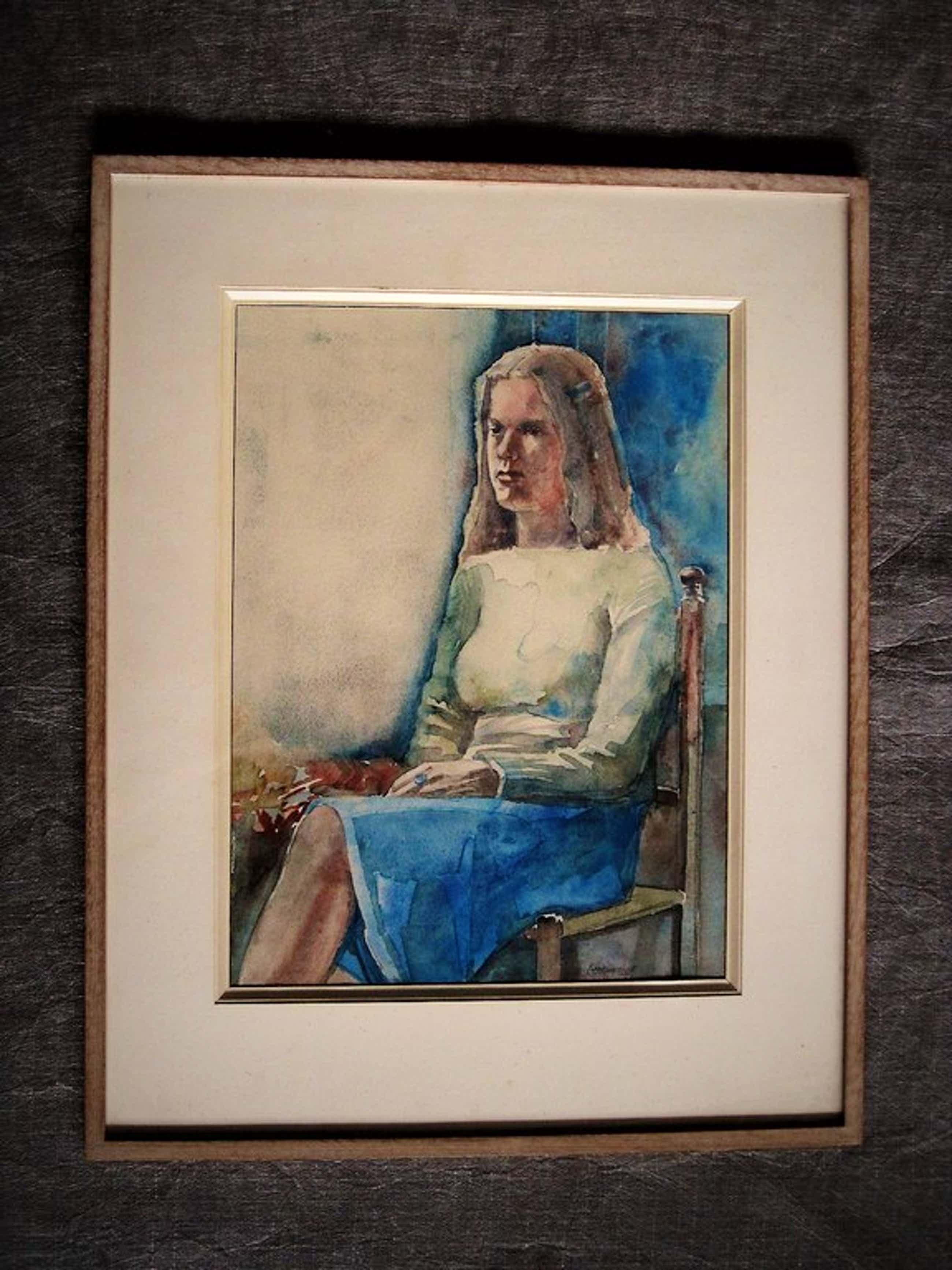 Vroeg bijna Kubistisch aquarel van Haarlemse Vijftiger Poppe Damave 1921-1988  kopen? Bied vanaf 110!