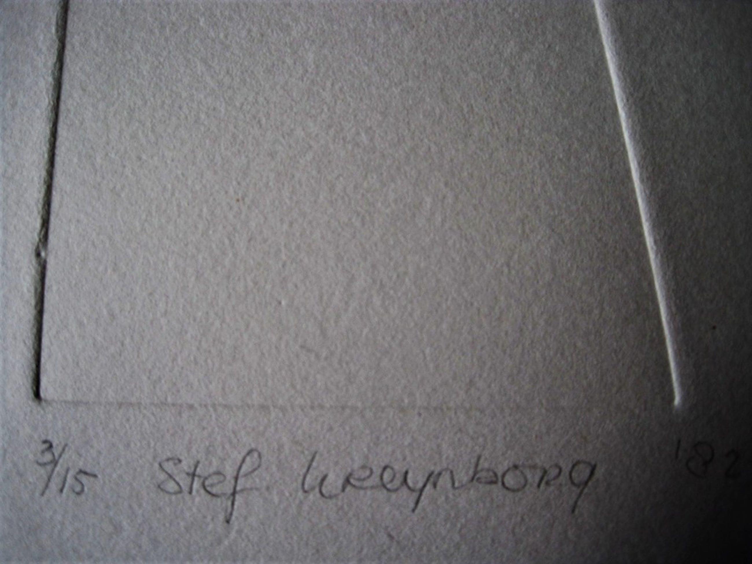 """Bijzondere Reliëfdruk """"Verbinding"""" zeer bep oplage 3/15 ges. Stef Kreymborg '82  kopen? Bied vanaf 1!"""