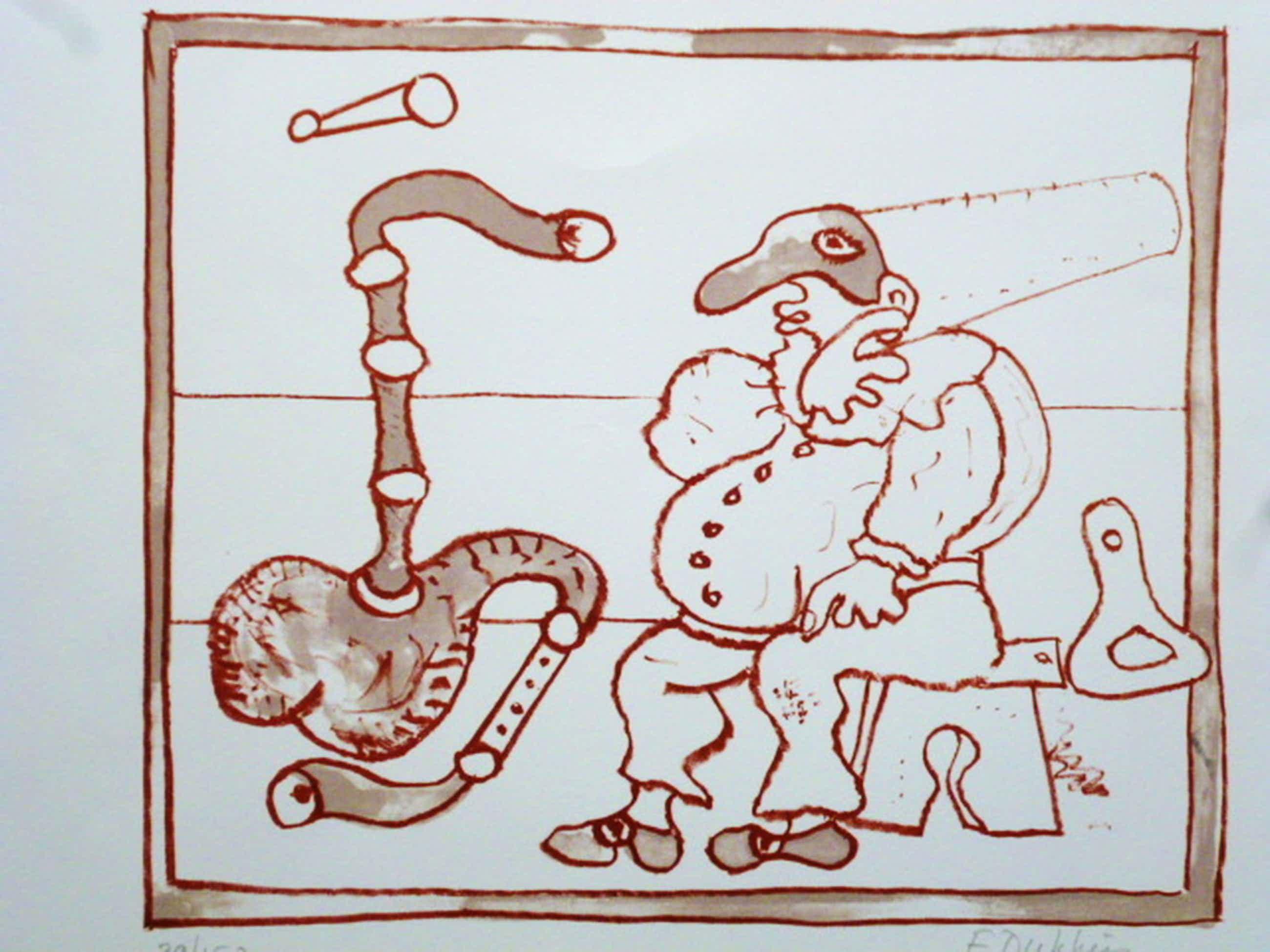 E. Dukkers - litho - Clownsfiguur met doedelzak kopen? Bied vanaf 35!