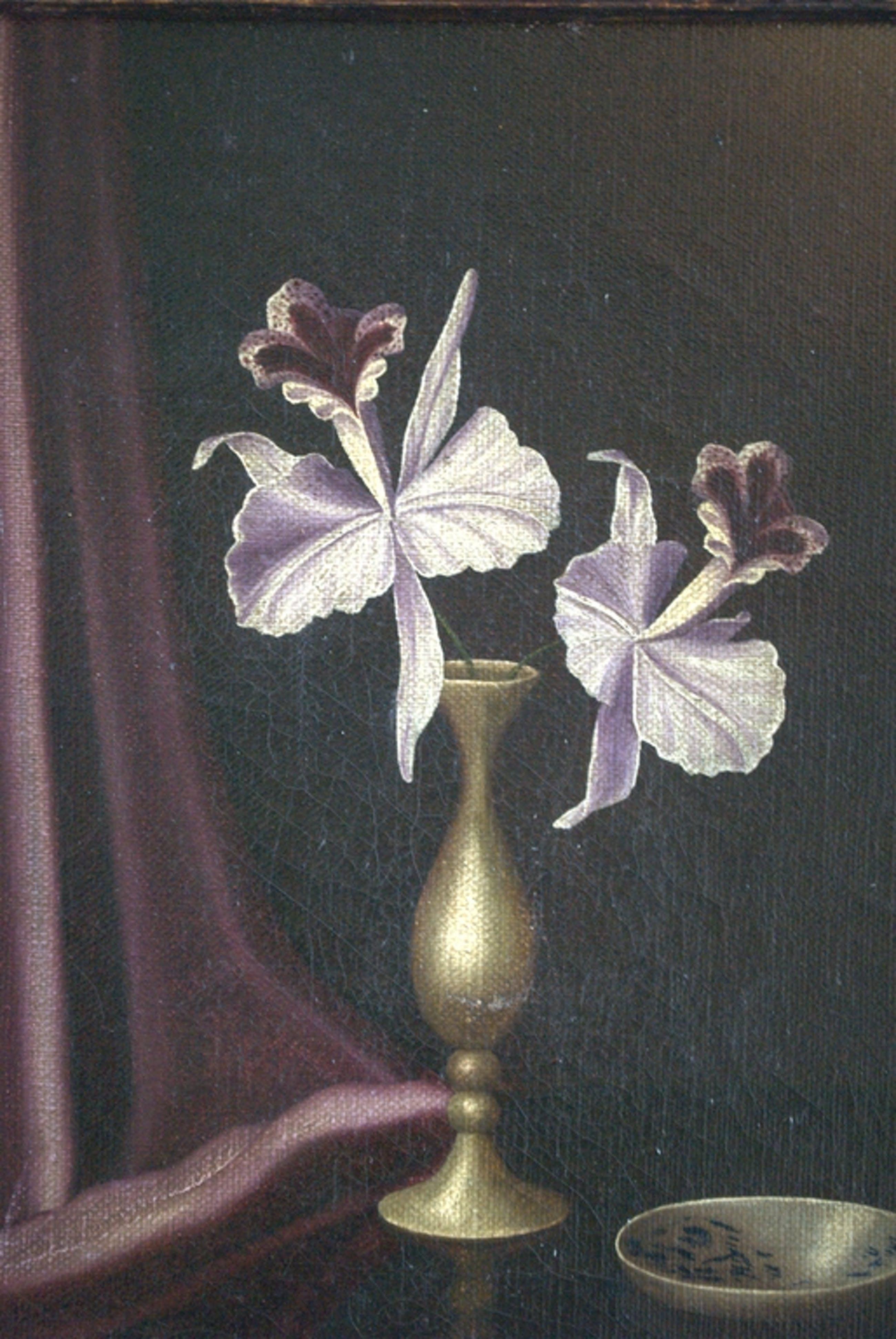 orchideeën in een slanke vaas - olieverf op doek kopen? Bied vanaf 55!