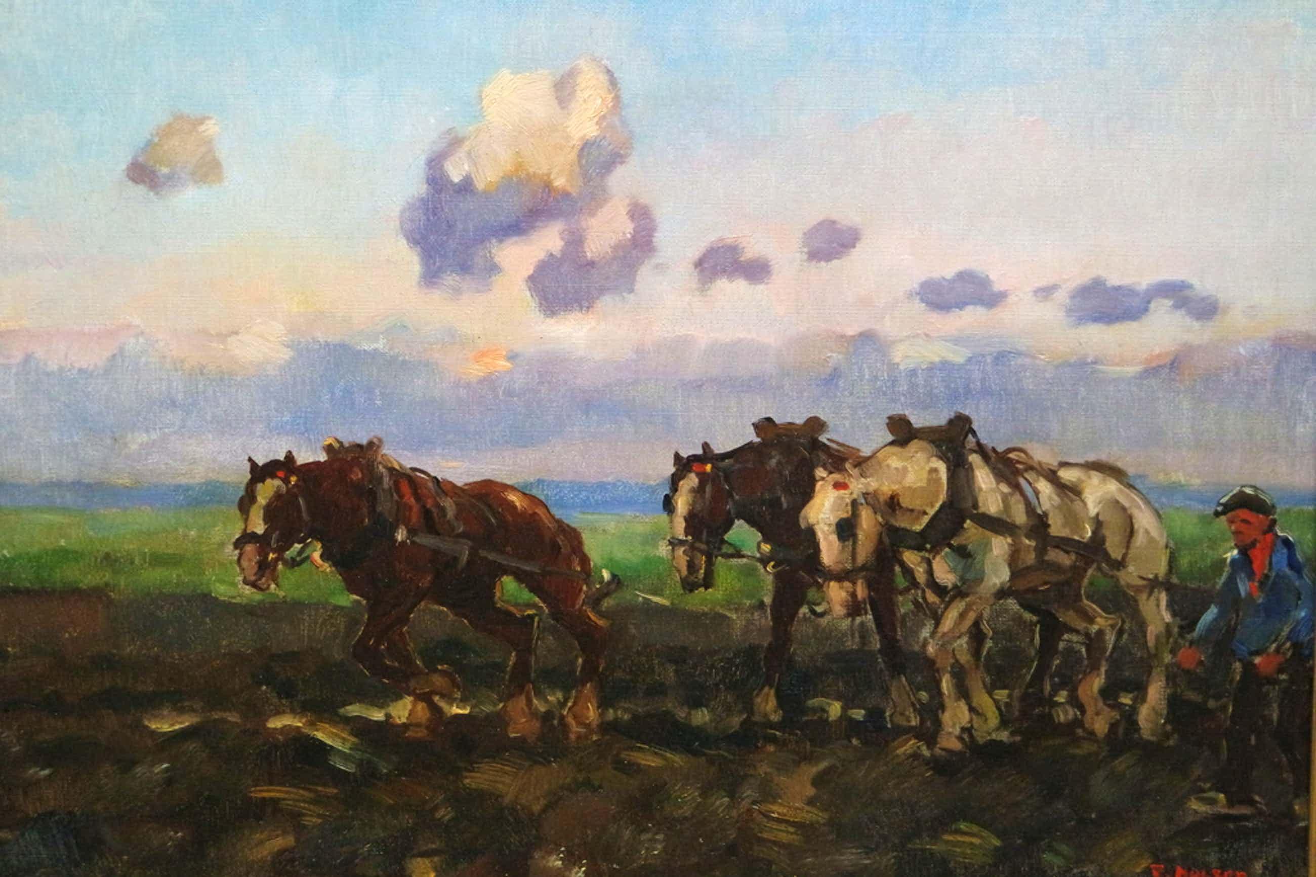 Cor Noltee (1903-1967) - olieverf op doek - ploegen met paarden kopen? Bied vanaf 700!