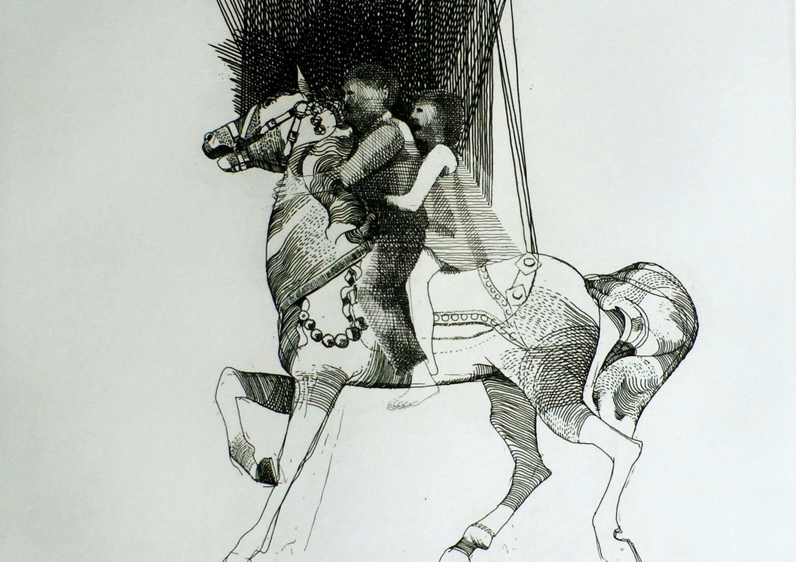 Aat verhoog - ets: jongen en meisje op paard - 1971 kopen? Bied vanaf 50!