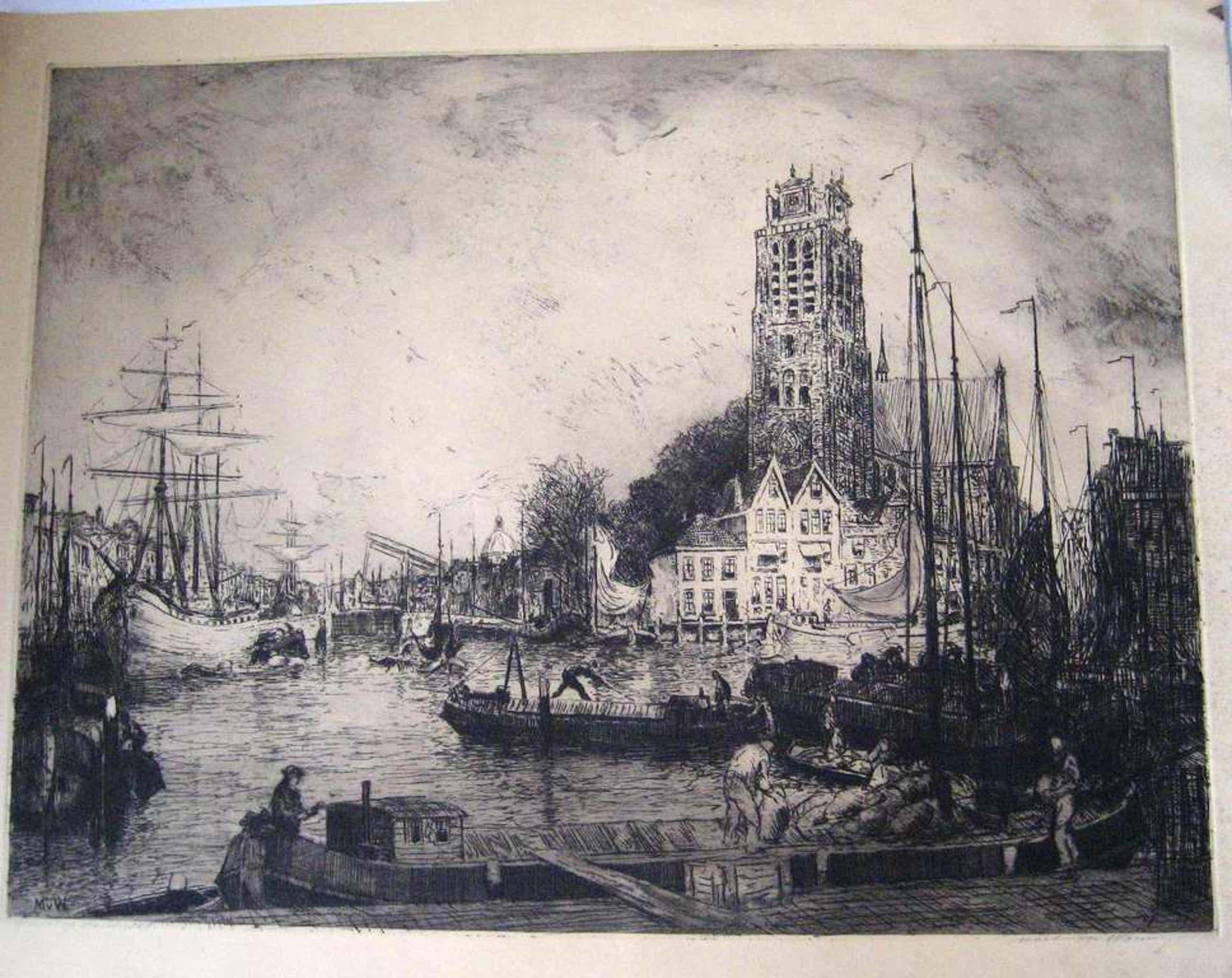 Ets Martin van Waning -Gezicht op Dordrecht kopen? Bied vanaf 55!