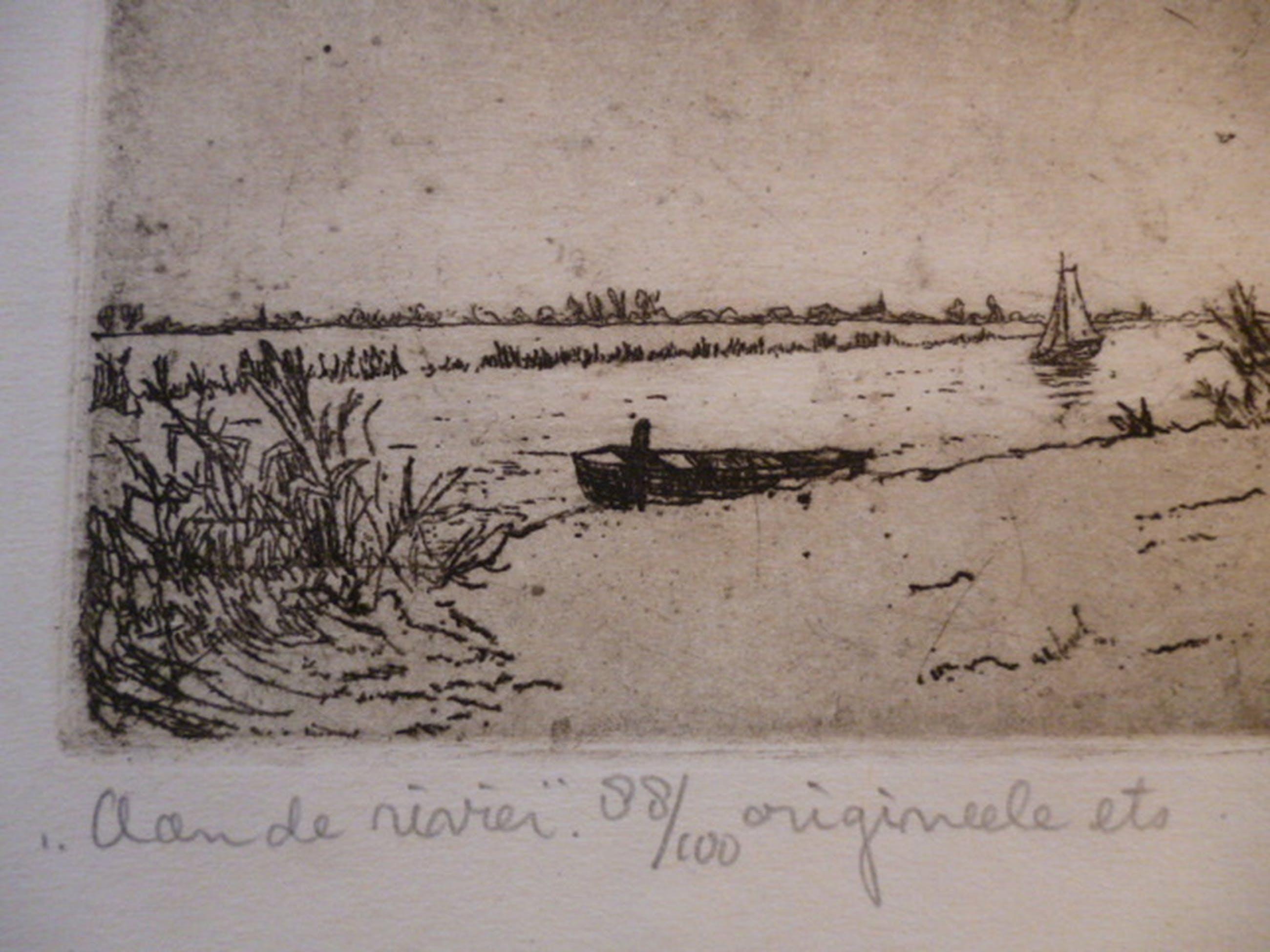 C.M. van de Woerd - ets - Aan de rivier kopen? Bied vanaf 20!