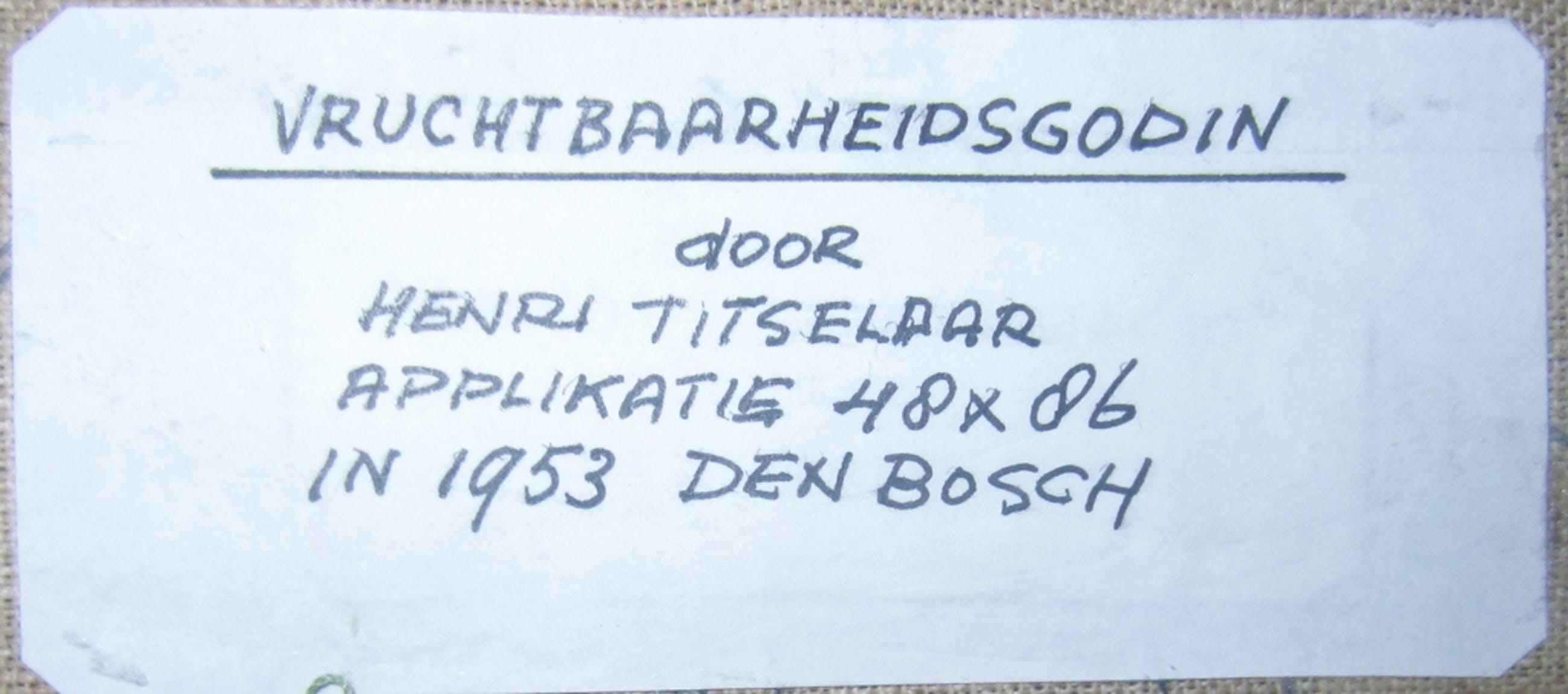 Henri Titselaar (1917-2013) - De Vruchtbaarheidsgodin - Textielwerk 1953 + boek kopen? Bied vanaf 1!