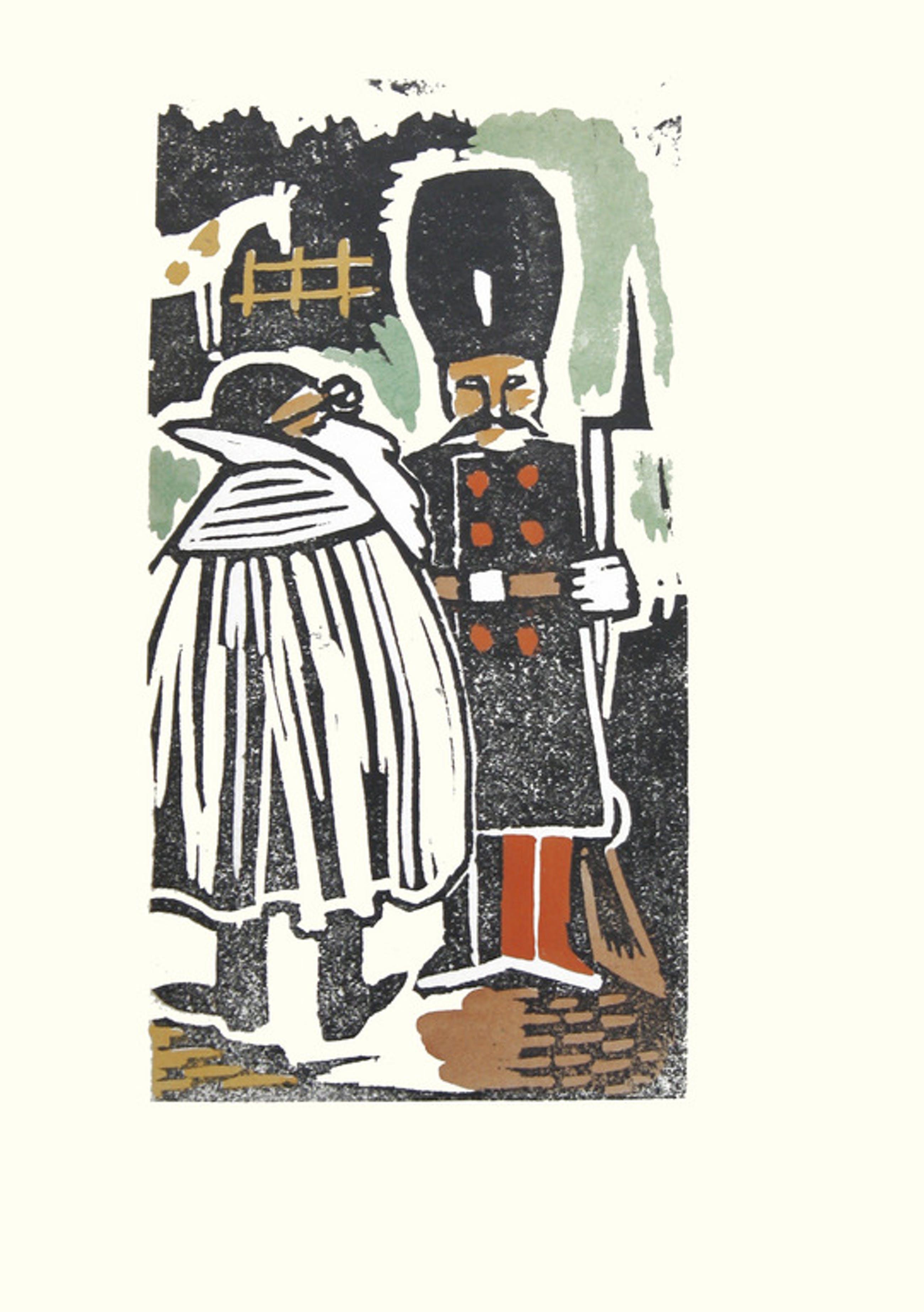Joop Löbler - Linosnede op rijstpapier uit 1943, door de kunstenaar ingekleurd kopen? Bied vanaf 13!